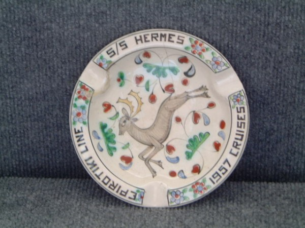 SPECIAL CHINA ASHTRAY FROM THE LINER SS HERMES