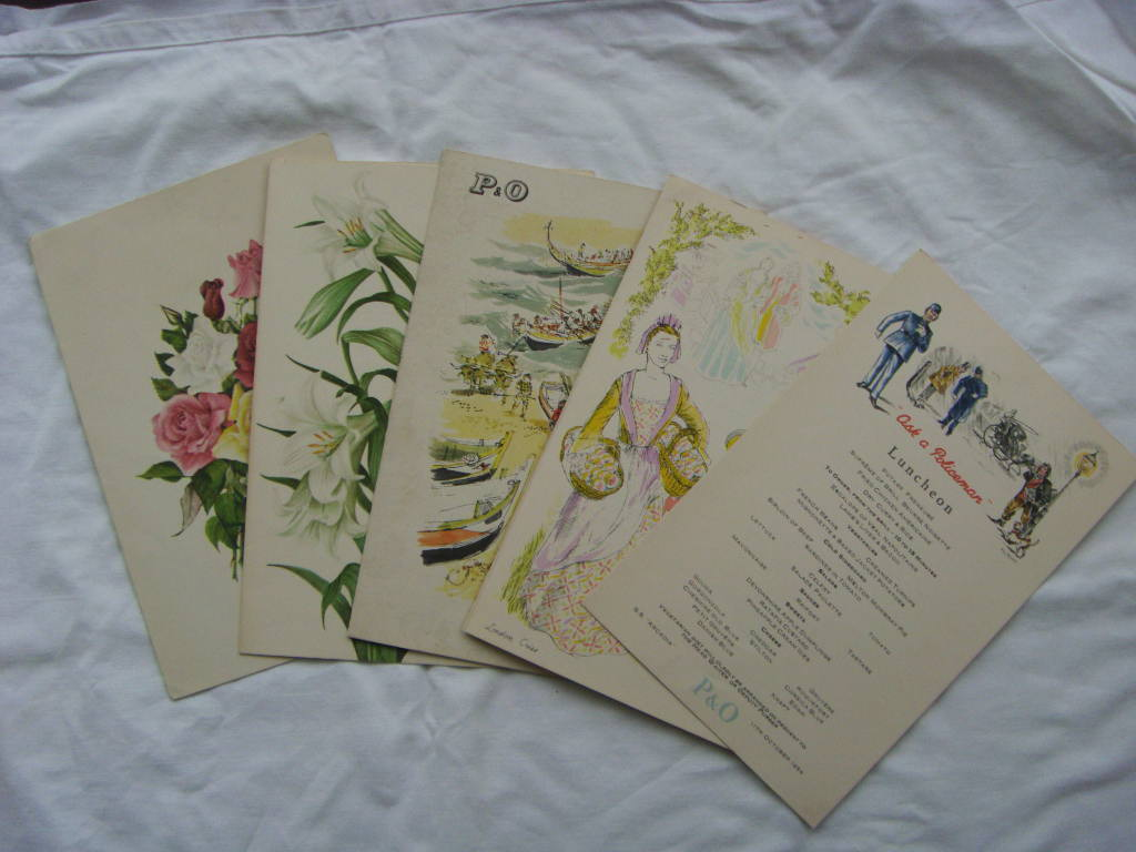 SET OF DINNER MENUS FROM THE VESSEL THE SS ARCADIA DATED 1954