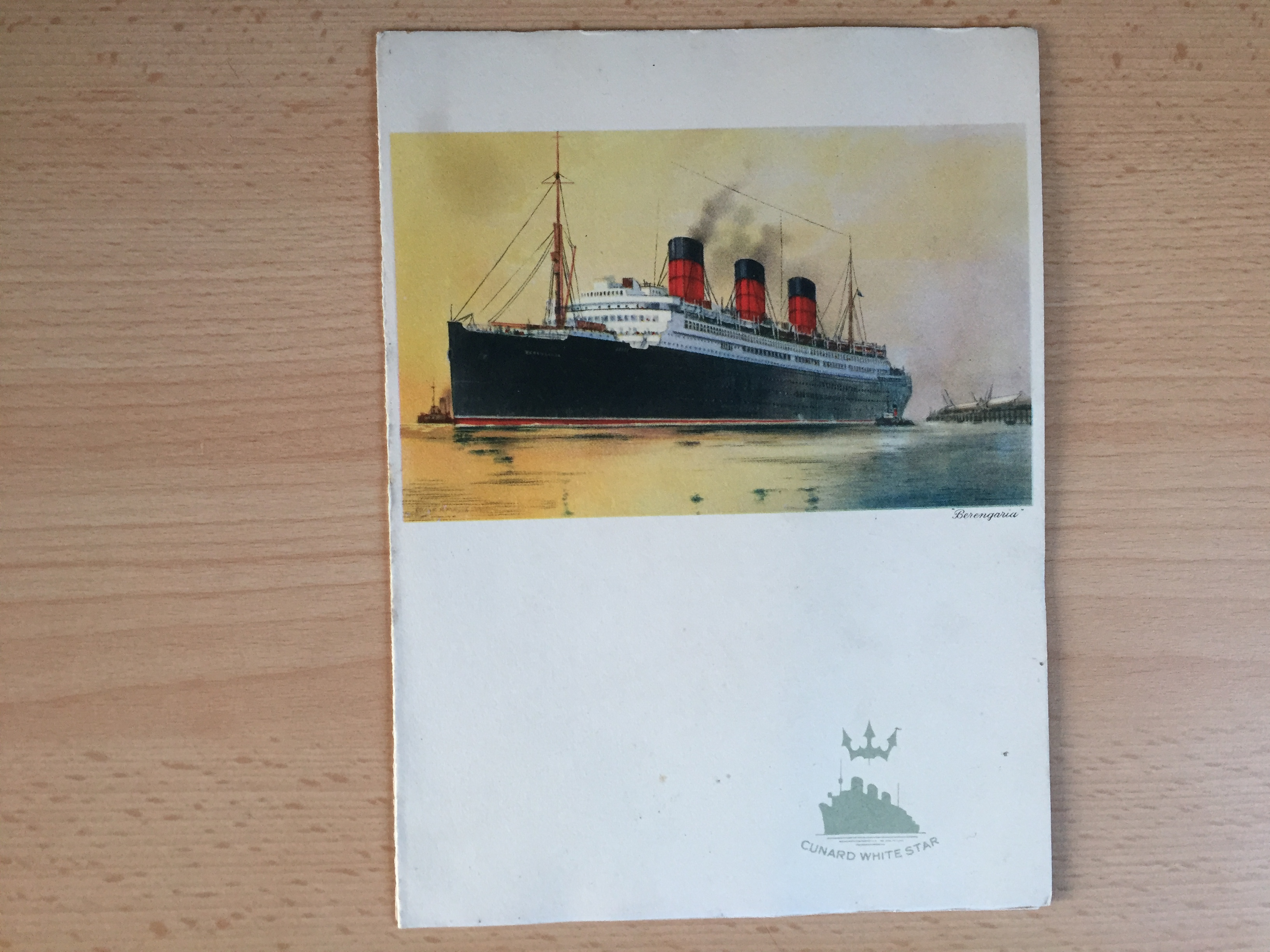 EARLY LUNCHEON MENU FROM THE CUNARD LINE VESSEL THE RMS BERENGARIA