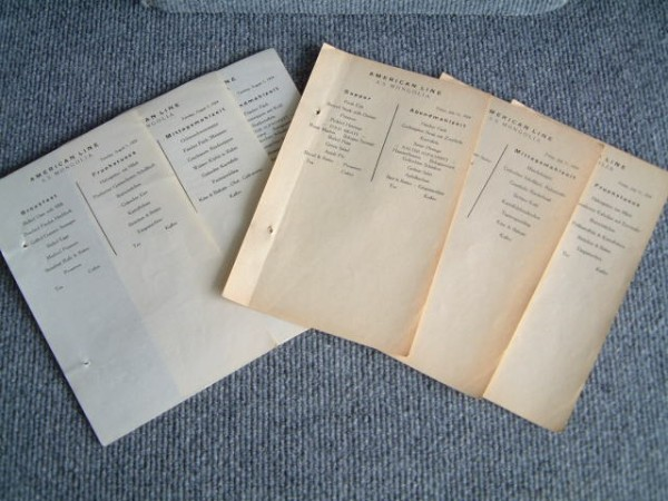 COLLECTION OF MENUS FROM THE AMERICAN LINE VESSEL MONGOLIA DATED AUGUST 1924