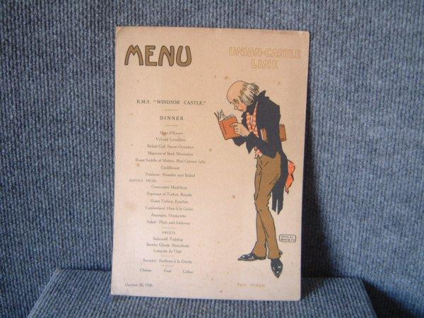 DINNER MENU FROM THE UNION CASTLE LINE VESSEL WINSOR CASTLE DATED OCTOBER 1926