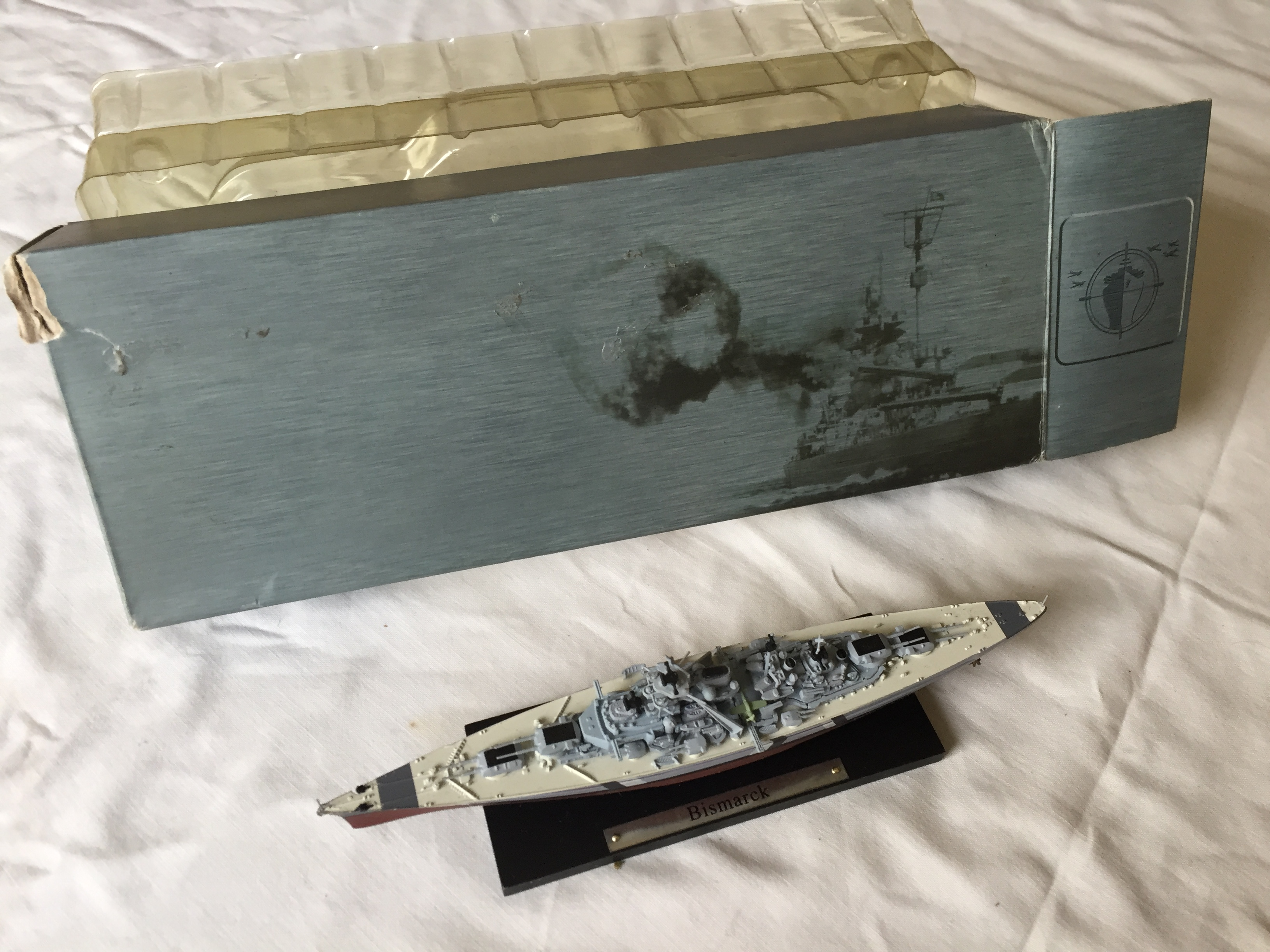 SMALL BOXED SCALE MODEL OF THE INFAMOUS GERMAN NAVAL VESSEL THE BISMARCK