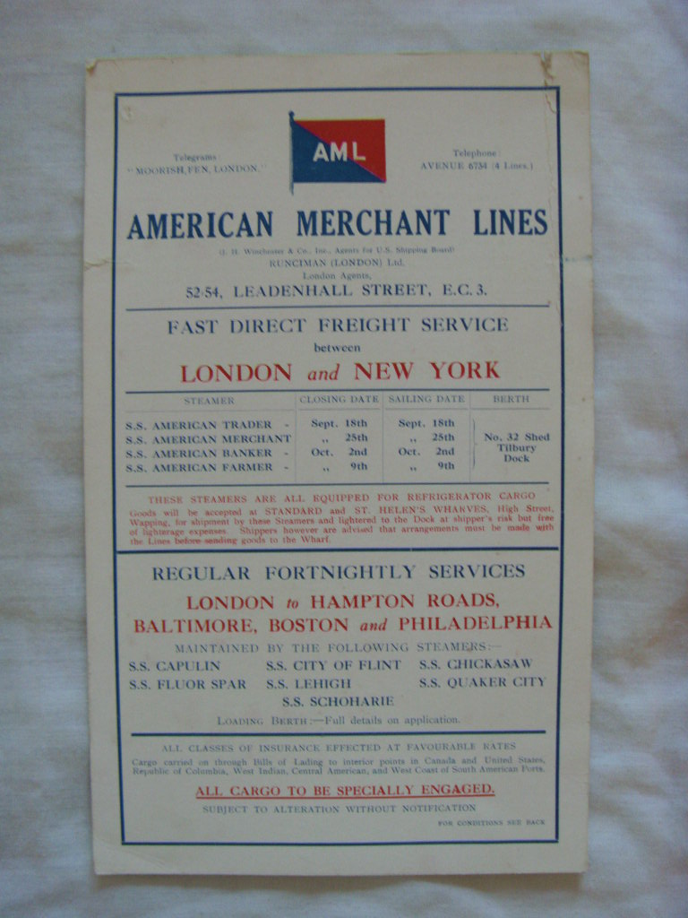 INFORMATION 'SHIPS NOTICES' CARD FROM THE AMERCAN MERCHANT LINES DATED 1925