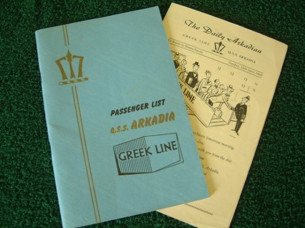 PASSENGER LIST FROM THE ARKADIA OF THE GREEK LINE DATED 1958