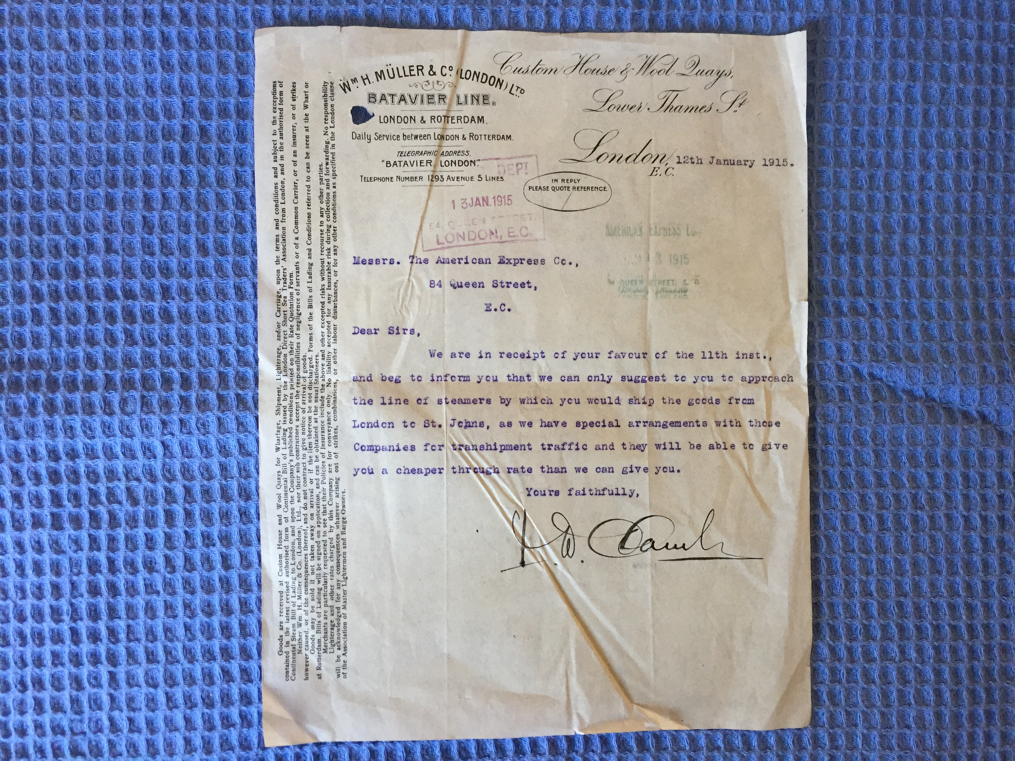 VERY EARLY CUSTOMS LETTER FROM 1915 FOR THE BATAVIA LINE SHIPPING COMPANY