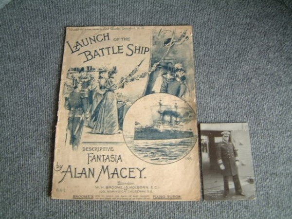ORIGINAL SHEET MUSIC FOR THE LAUNCH OF THE VESSEL 'THE BATTLESHIP' DATED 1890