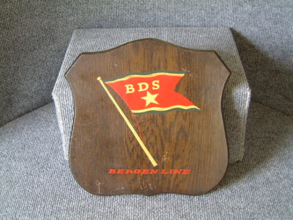 OLD WOODEN SHIP'S PLAQUE FROM THE BERGEN LINE