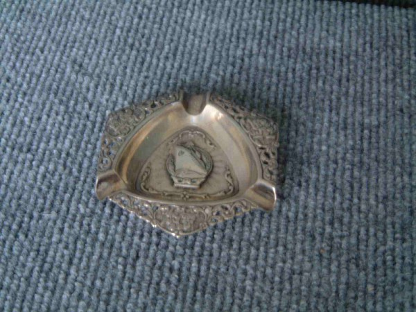 VERY ORNATE SILVER ASH TRAY FROM THE VESSEL MV BLOEMFONTEIN