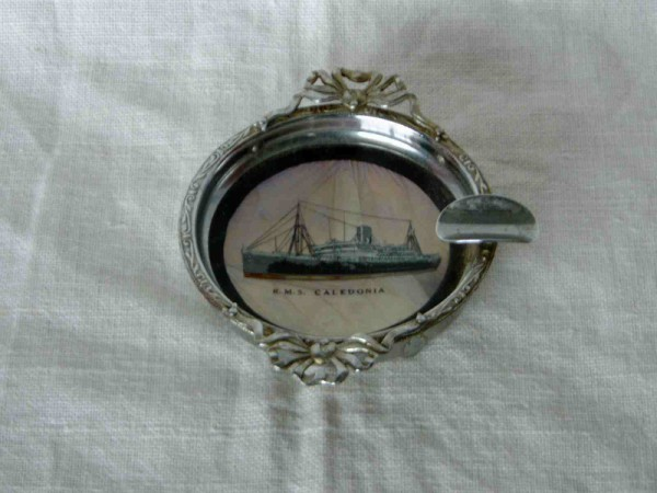 SUPERB EMBOSSED CHROME ASHTRAY FROM THE LINER RMS CALEDONIA