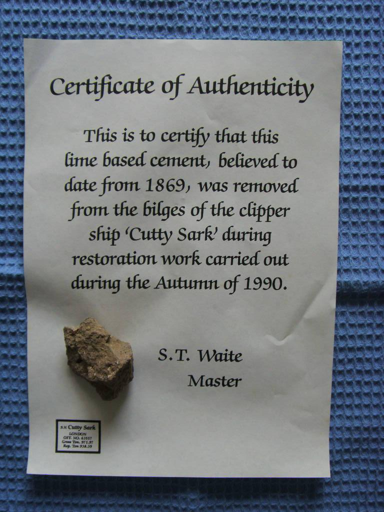 PIECE OF ORIGINAL CEMENT FROM THE BILGES OF THE FAMOUS SHIP 'THE CUTTY SARK'