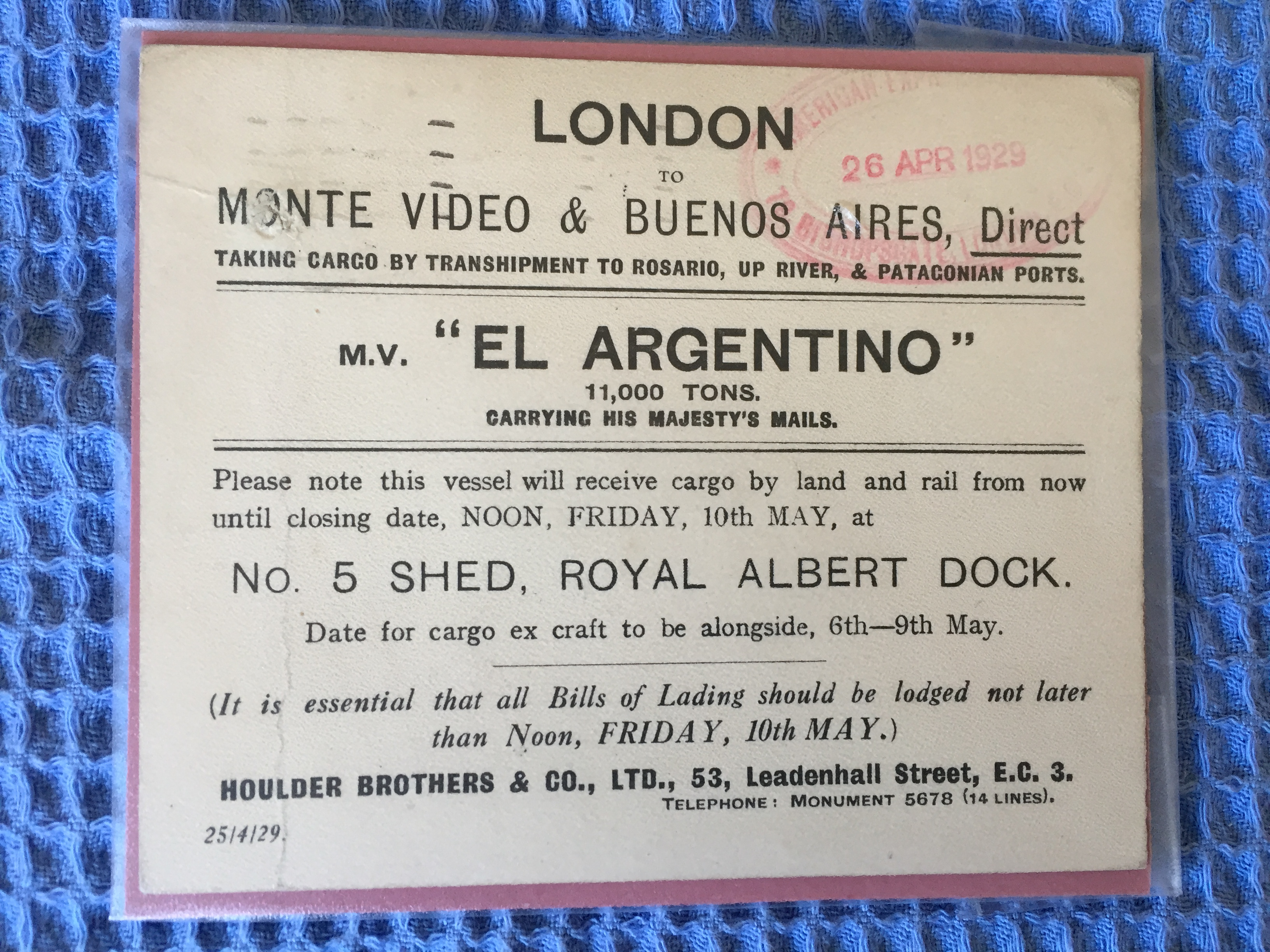 BILL OF LADING FOR THE MAIL VESSEL THE EL ARGENTINO DATED 1929