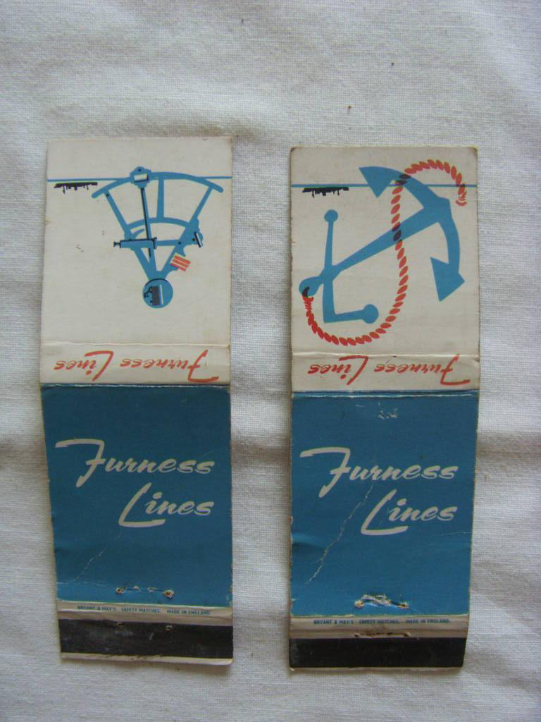 PAIR OF VERY OLD MATCHBOOK COVERS FROM THE FURNESS LINES SHIPPING COMPANY