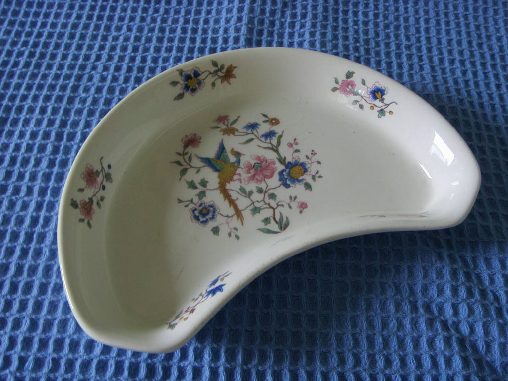 SUPERB HALF MOON FLORAL DESIGN DISH FROM THE FURNESS SHIP MANAGEMENT COMPANY