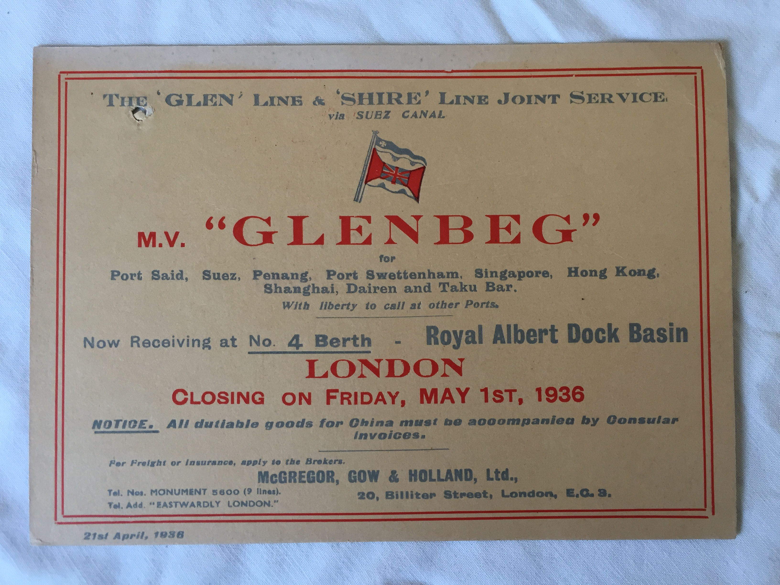 GLEN LINE 1936 SHIPS SAILING NOTICE CARD FOR THE VESSEL THE MV GLENBEG