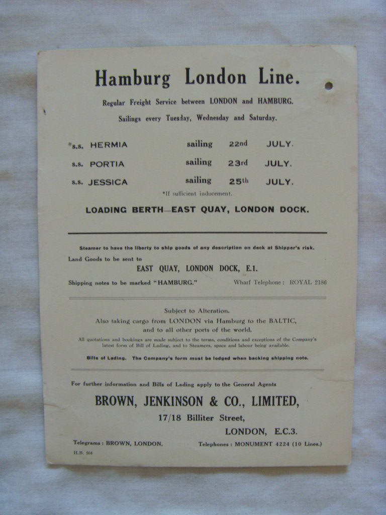 INFORMATION 'SHIPS NOTICES' CARD FROM THE HAMBURG LONDON LINE DATED 1931