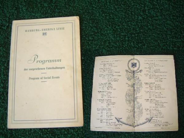 ON BOARD SHIPS PROGRAMME FROM THE SS HAMBURG OF THE HAMBURG AMERIKA LINE
