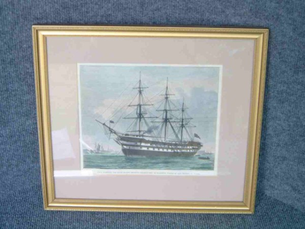 HAND COLOURED FRAMED PICTURE OF HMS WARSPITE
