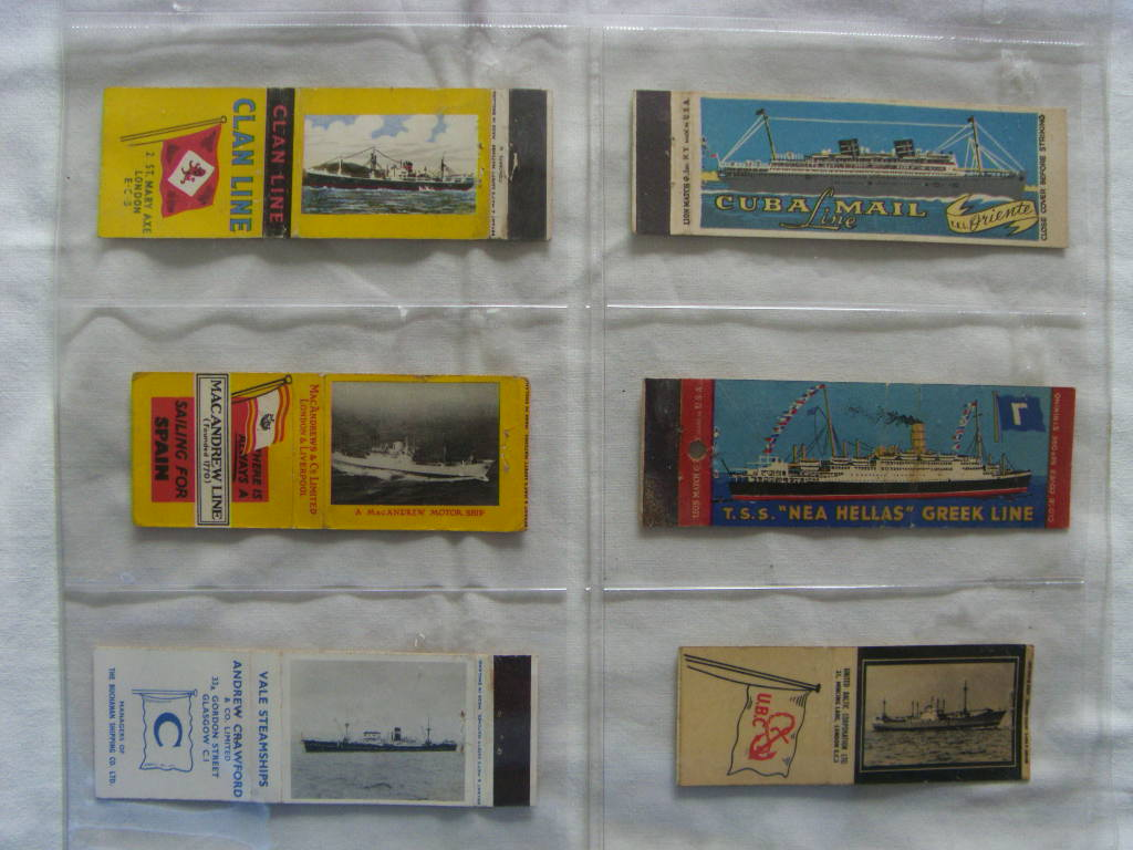 SET OF 6 EARLY MATCHBOOK COVERS FROM VARIOUS SHIPPING LINES