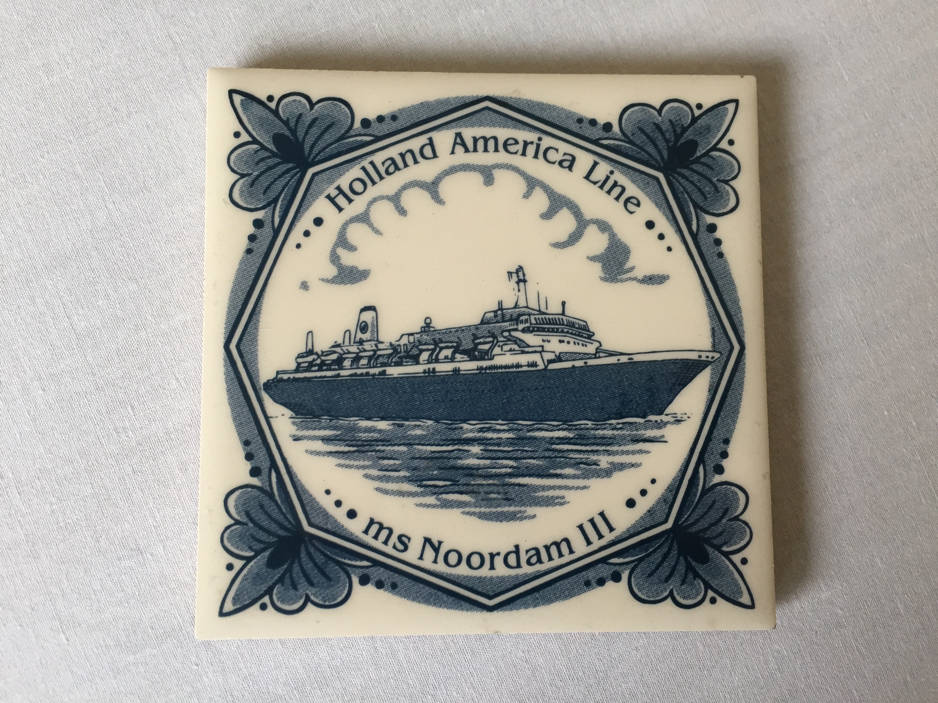 SOUVENIR CHINA COASTER MAT FROM THE HOLLAND AMERICA LINE VESSEL THE MS NOORDAM III