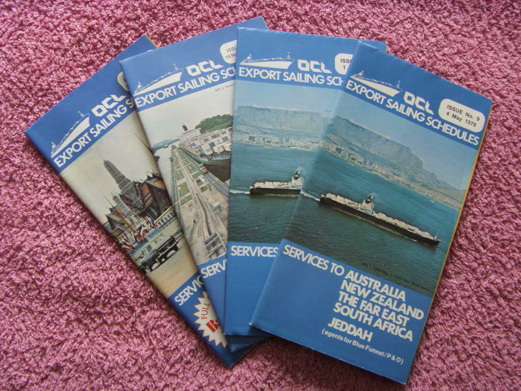 SET OF 4 EDITIONS OF THE MARITIME BOOKLET 'OCL' OVERSEAS CONTAINERS LIMITED FROM THE 1970's