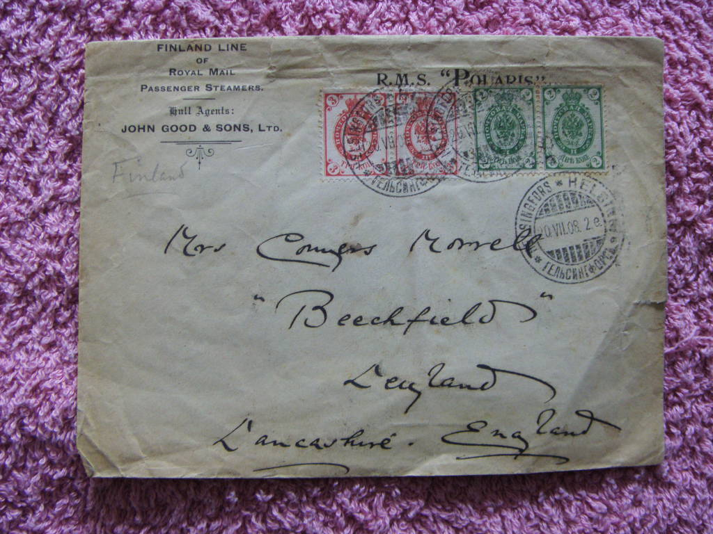 POSTED ENVELOPE FROM THE RMS POLARIS DATED 1908