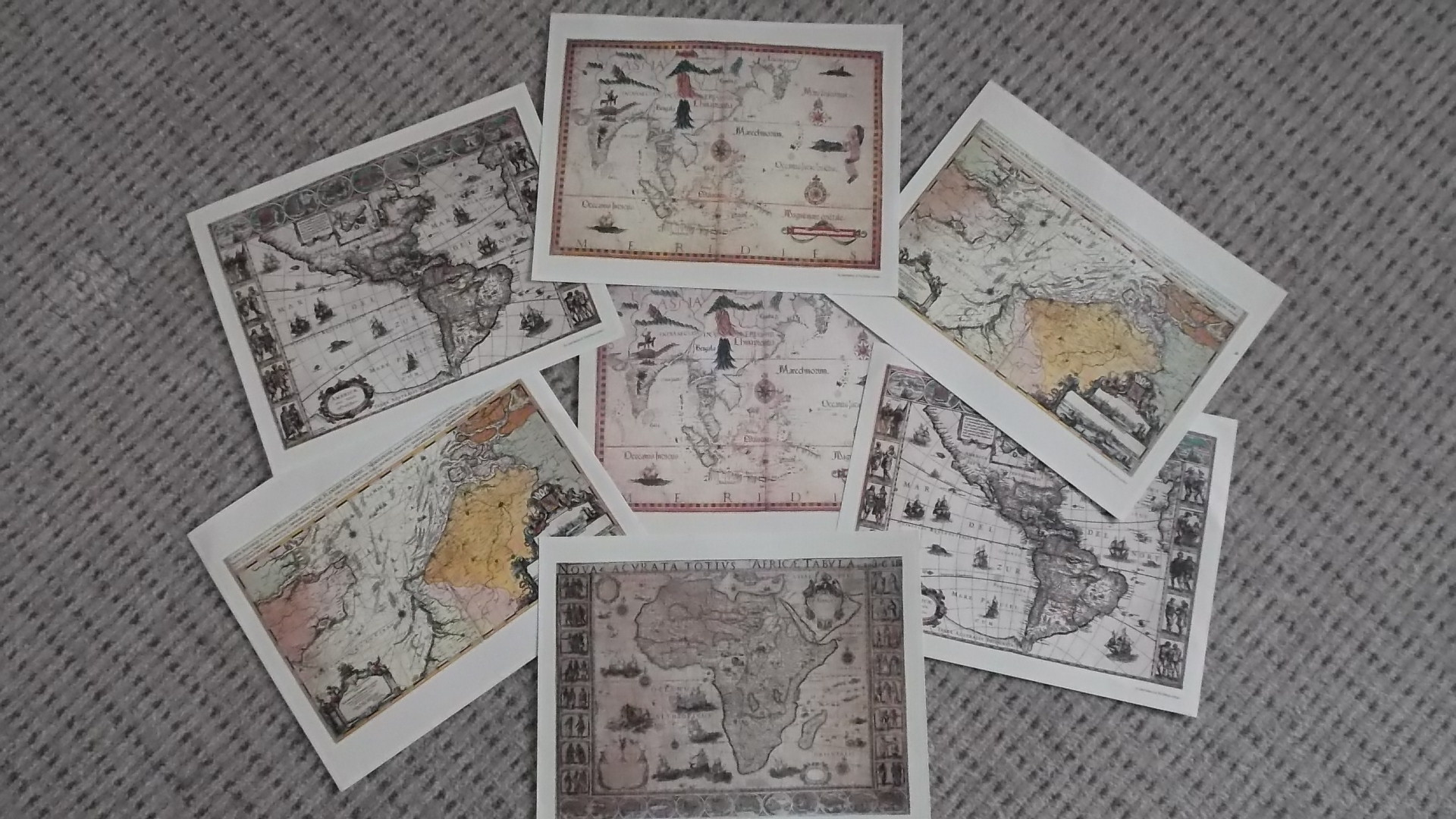 SET OF OLD CONTINENT CHARTS/MAPS