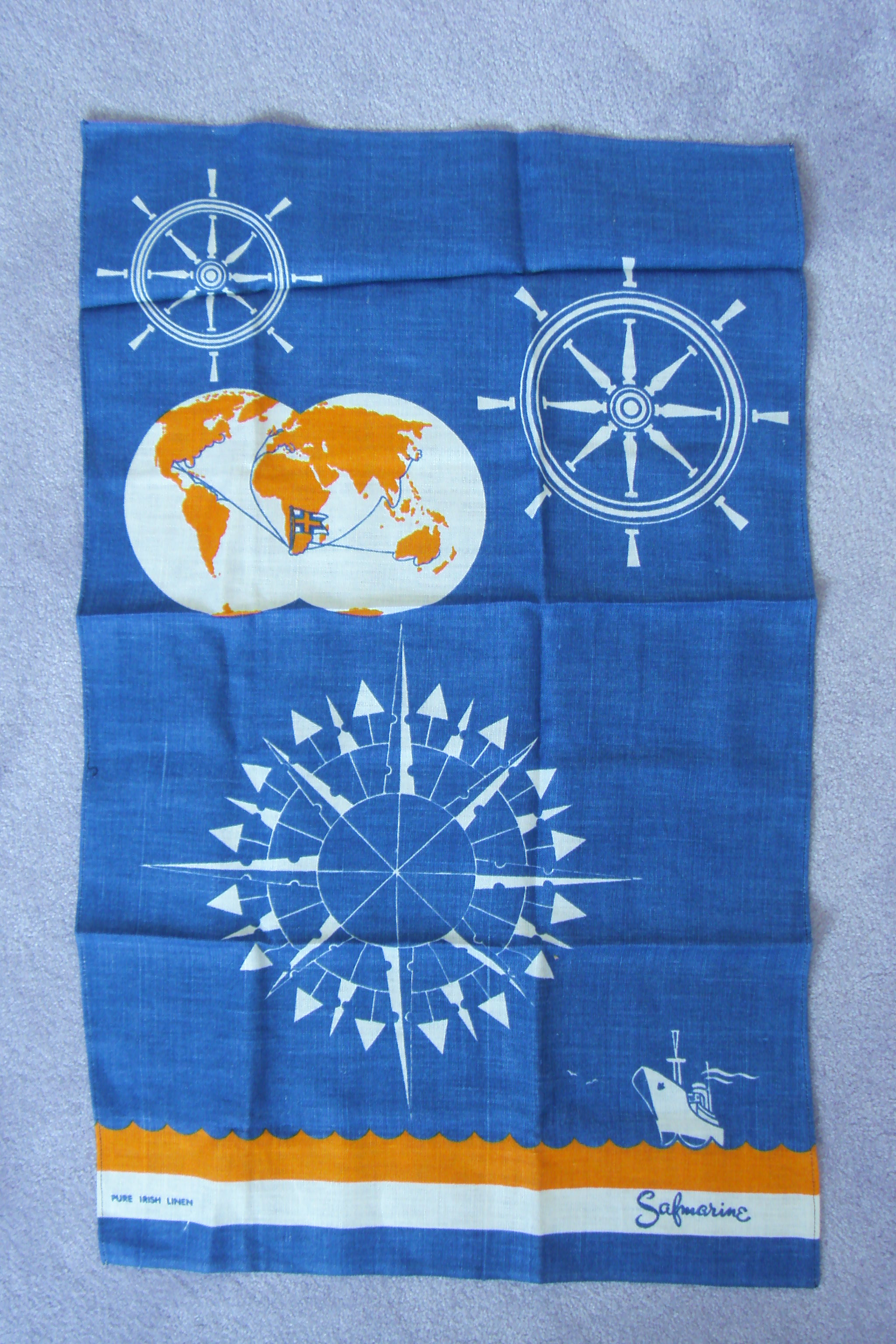 UNUSED TEA TOWEL FROM THE SOUTH AFRICAN MARINE LINE SHIPPING COMPANY