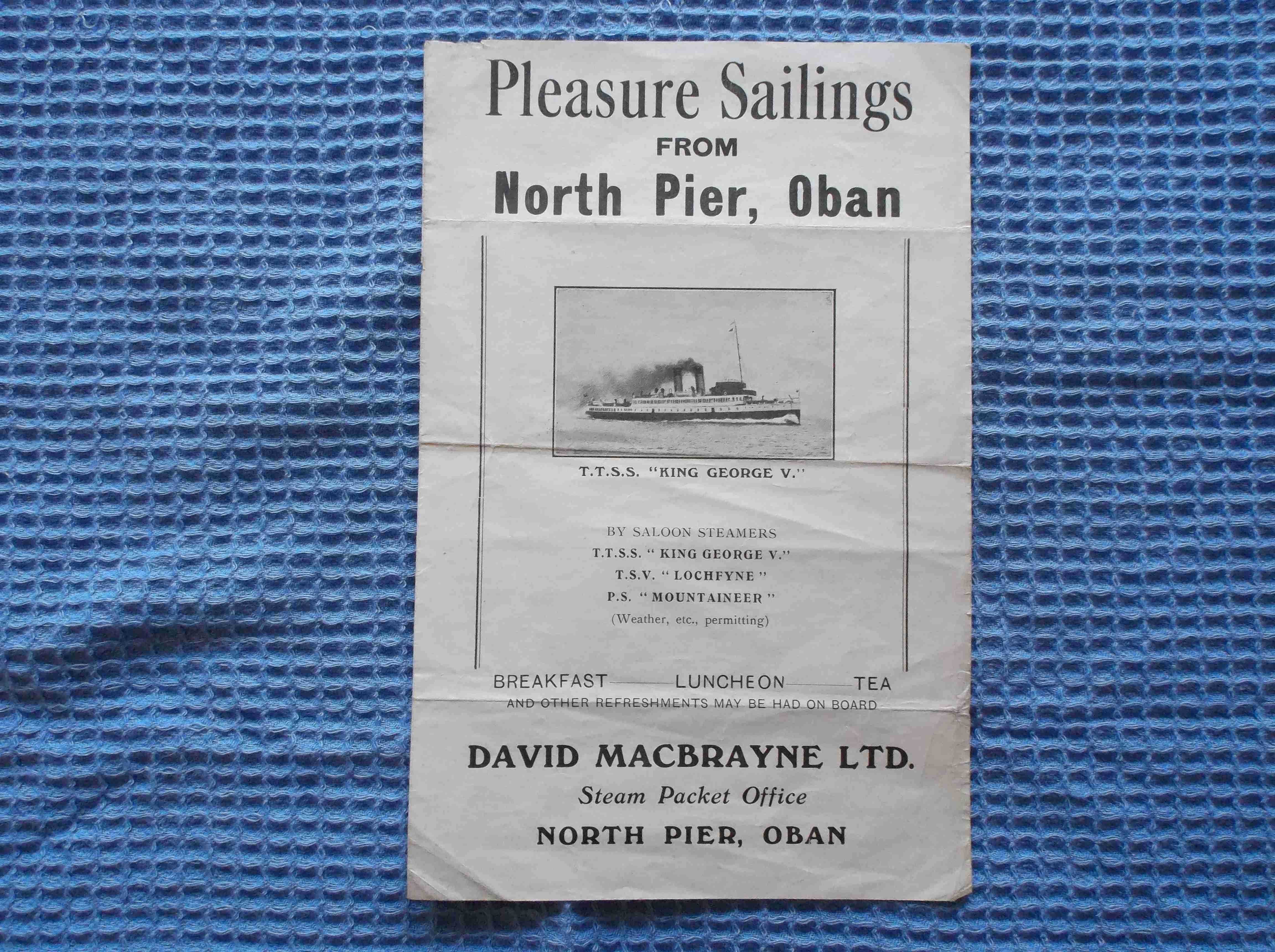 VERY RARE TO FIND SAILING DETAILS LEAFLET FROM THE STEAM PACKET COMPANY DATED 1937