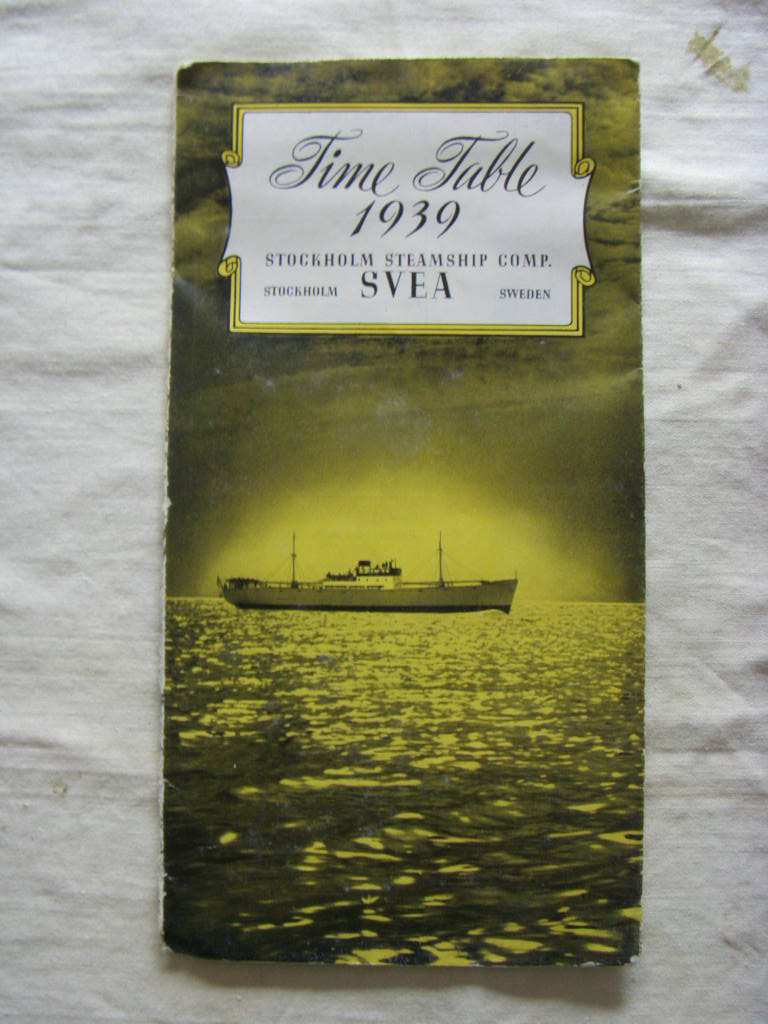 TIMETABLE OF CRUISE SAILINGS FOR THE STOCKHOLM STEAMSHIP COMPANY DATED 1939