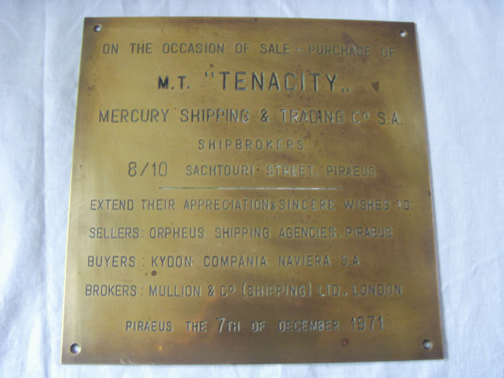BRASS PLAQUE FROM THE M.T. TENACITY BUILT 1954