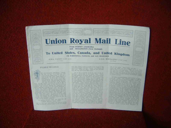 VOYAGE BOOKLET FROM TWO LINERS OF THE UNION ROYAL MAIL LINE OF NEW ZEALAND