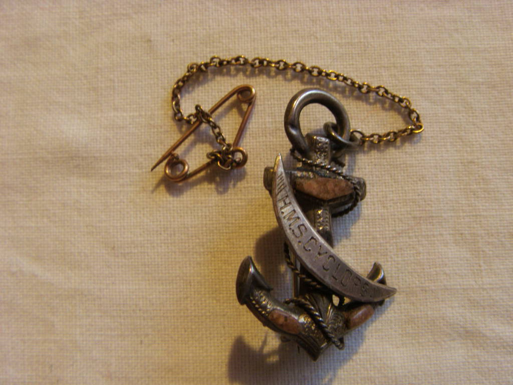 OLD KEYRING FROM THE COASTAL DEFENCE MONITOR VESSEL HMS CYCLOPS 1877-1903