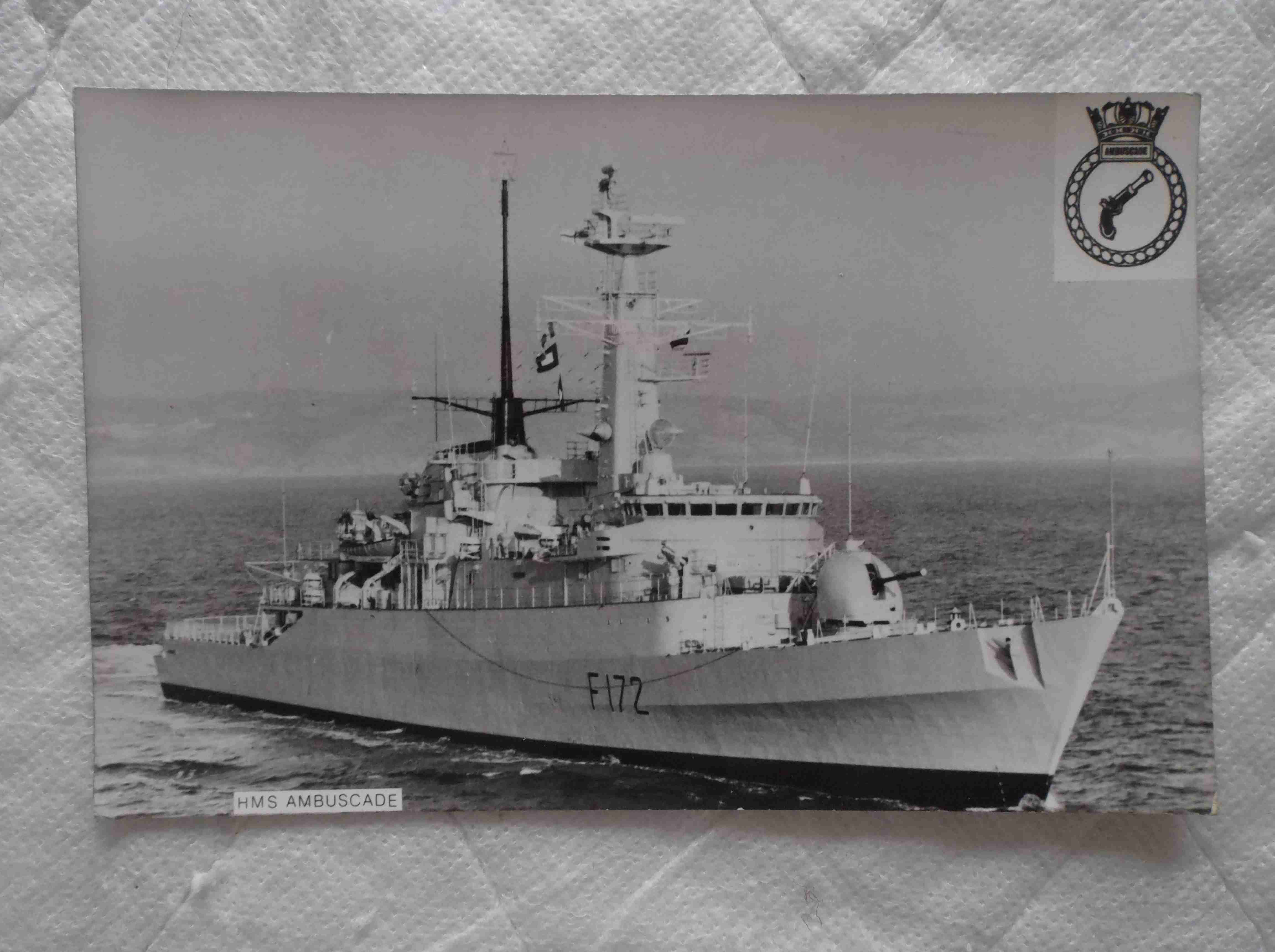 POSTCARD SIZE PHOTOGRAPH OF THE ROYAL NAVAL VESSEL HMS AMBUSCADE