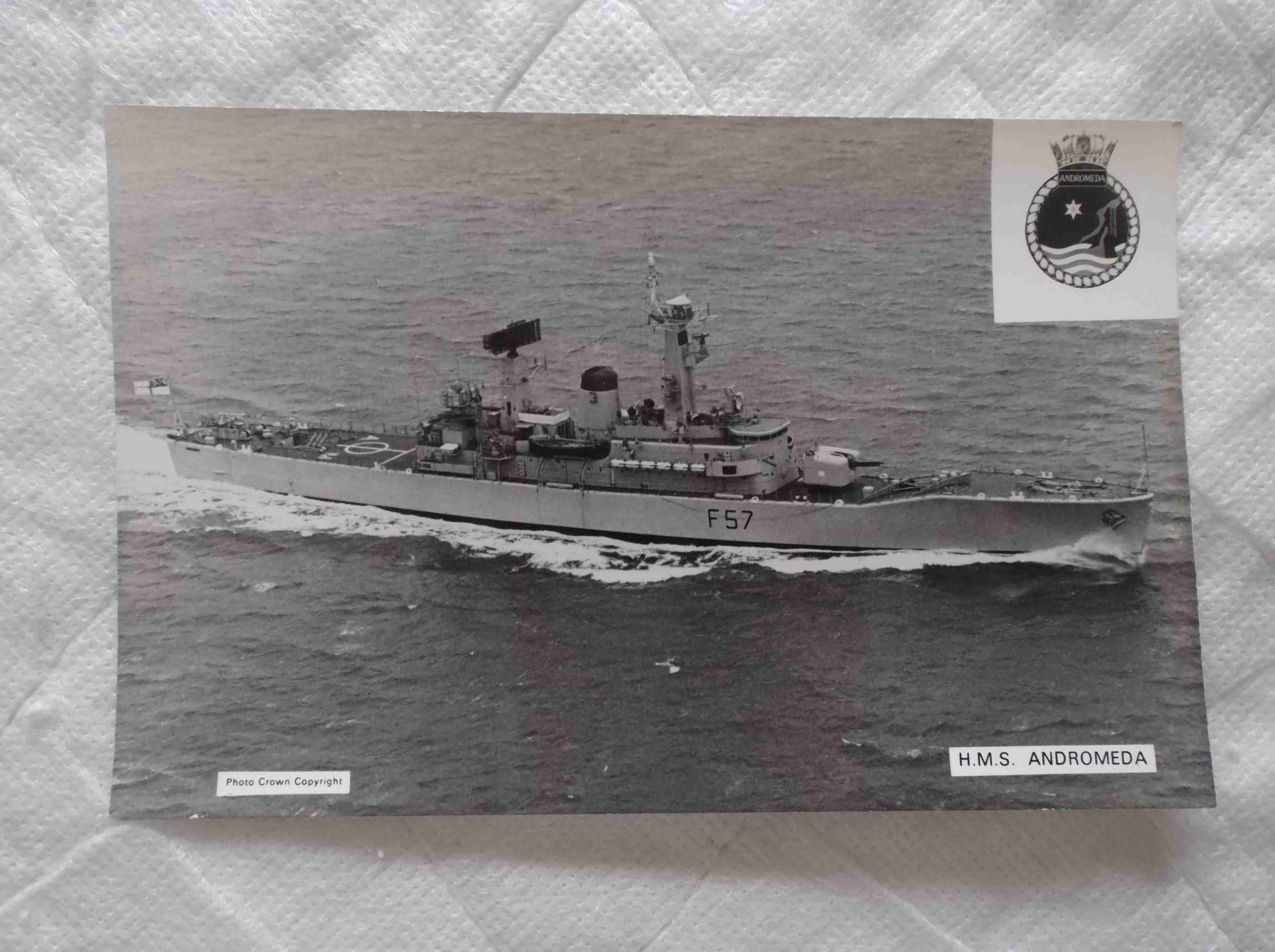 POSTCARD SIZE PHOTOGRAPH OF THE ROYAL NAVAL VESSEL HMS ANDROMEDA