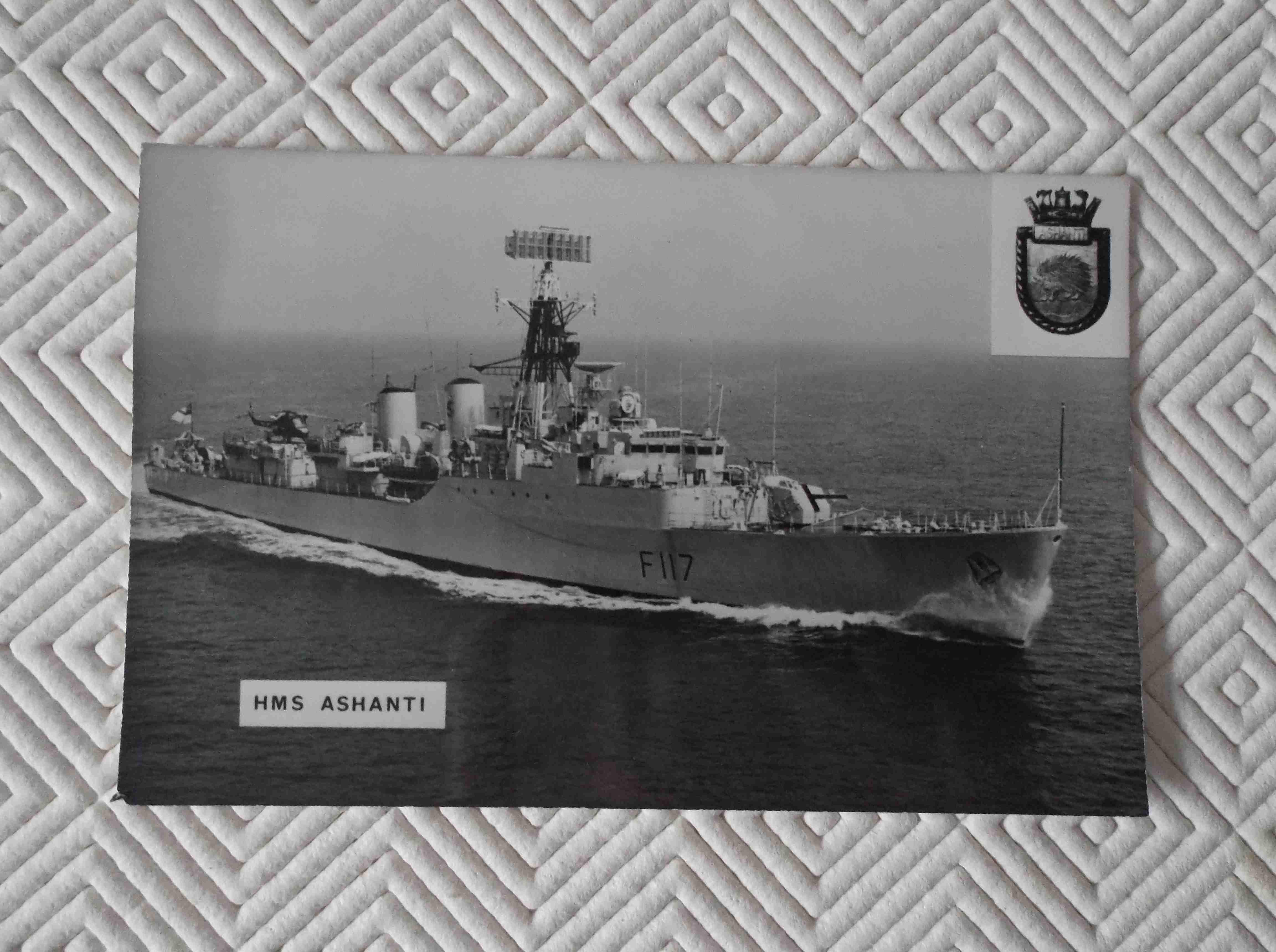 POSTCARD SIZE PHOTOGRAPH OF THE ROYAL NAVAL VESSEL HMS ASHANTI
