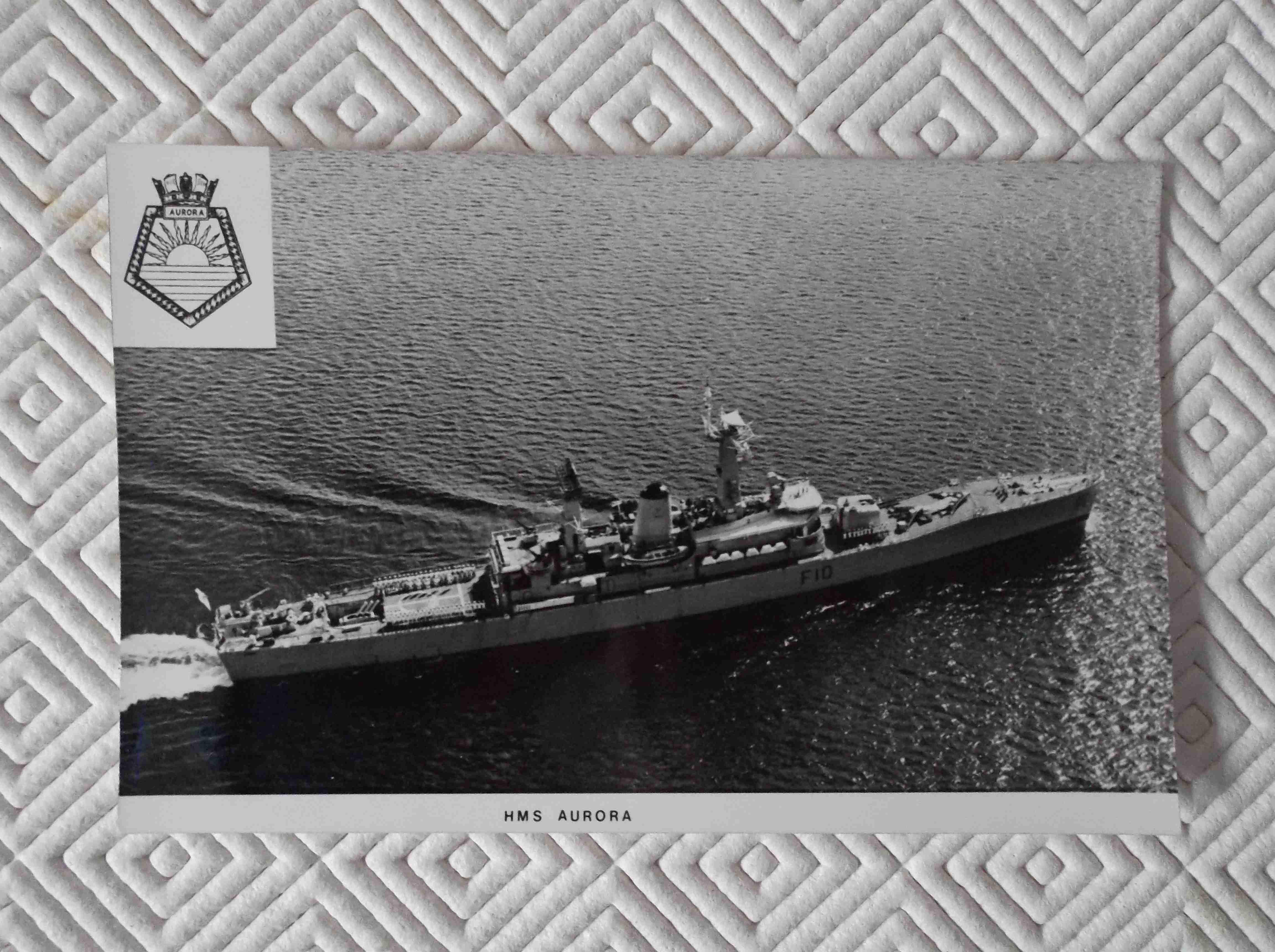 POSTCARD SIZE PHOTOGRAPH OF THE ROYAL NAVAL VESSEL HMS AURORA