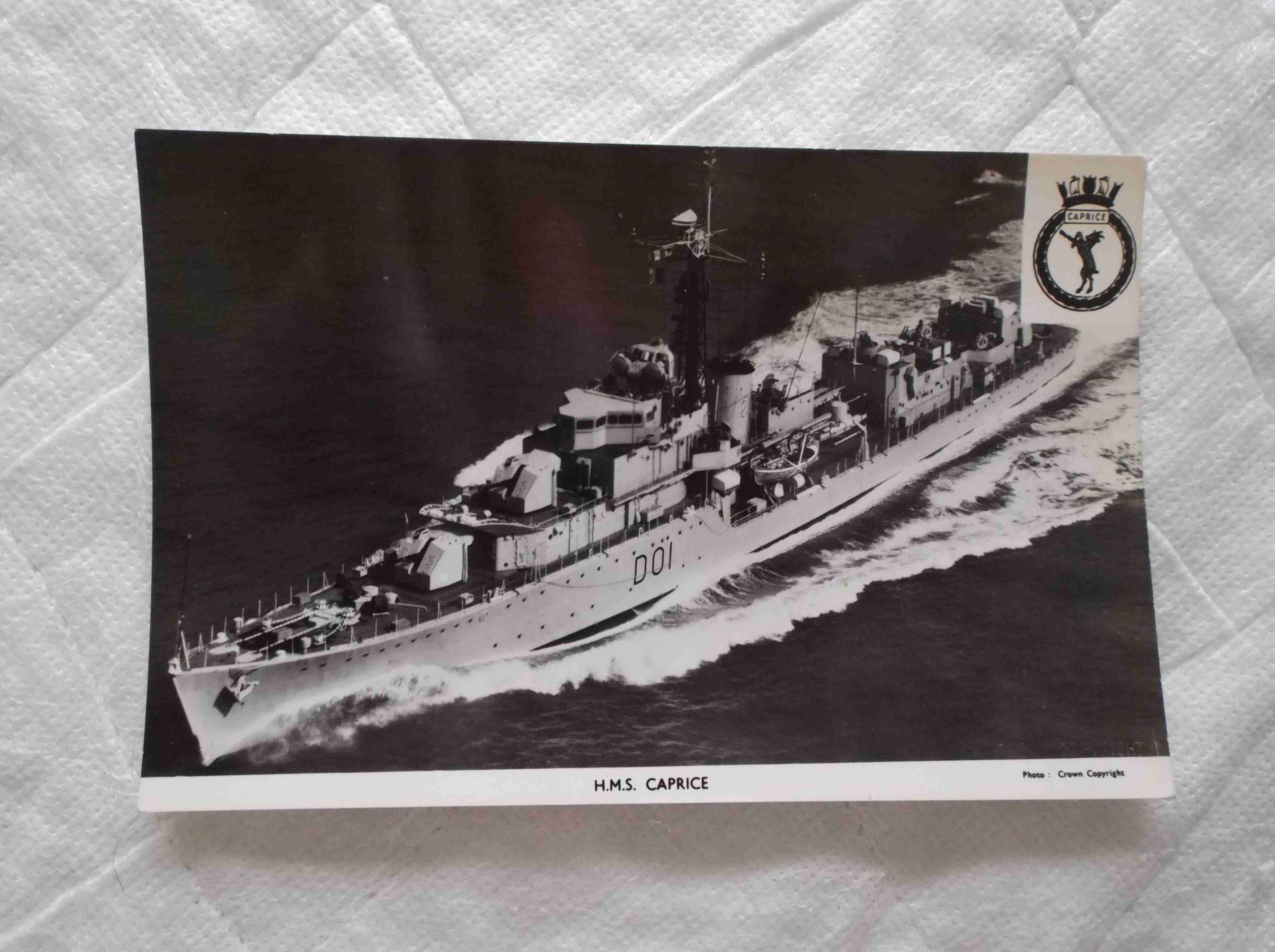 POSTCARD OF THE ROYAL NAVAL VESSEL HMS CAPRICE