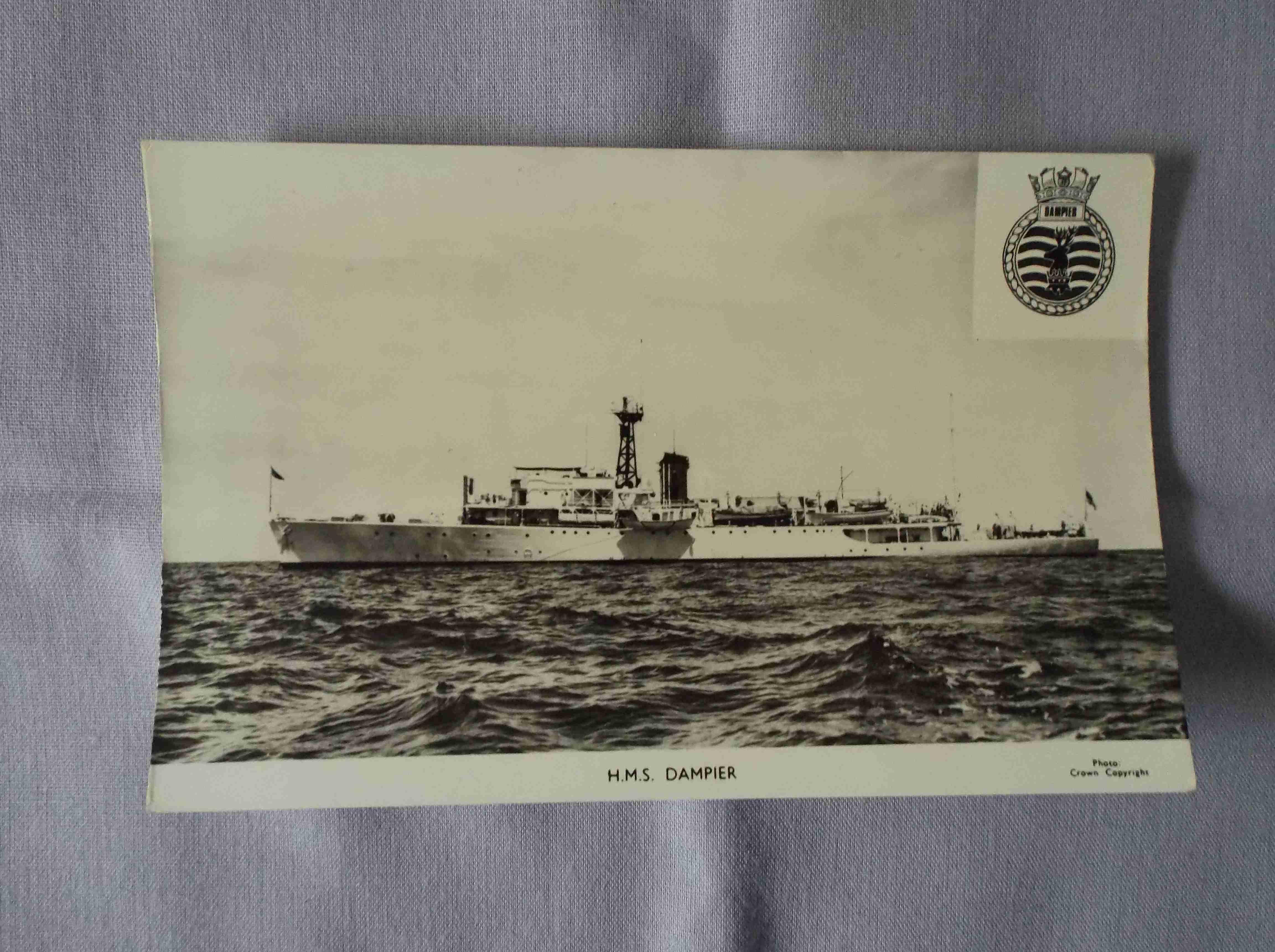 POSTCARD OF THE ROYAL NAVAL VESSEL HMS DAMPIER
