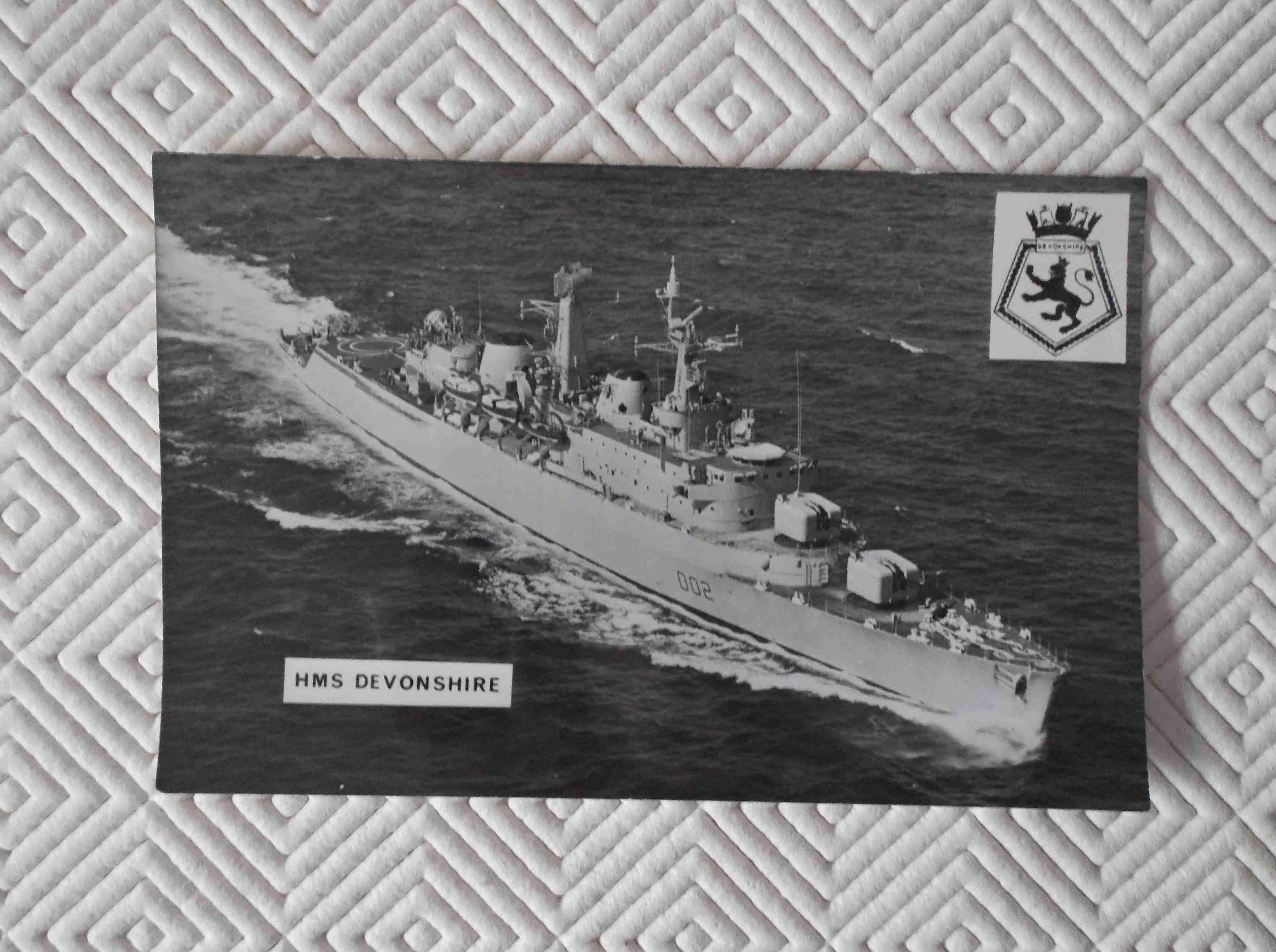 POSTCARD SIZE PHOTOGRAPH OF THE ROYAL NAVAL VESSEL HMS DEVONSHIRE