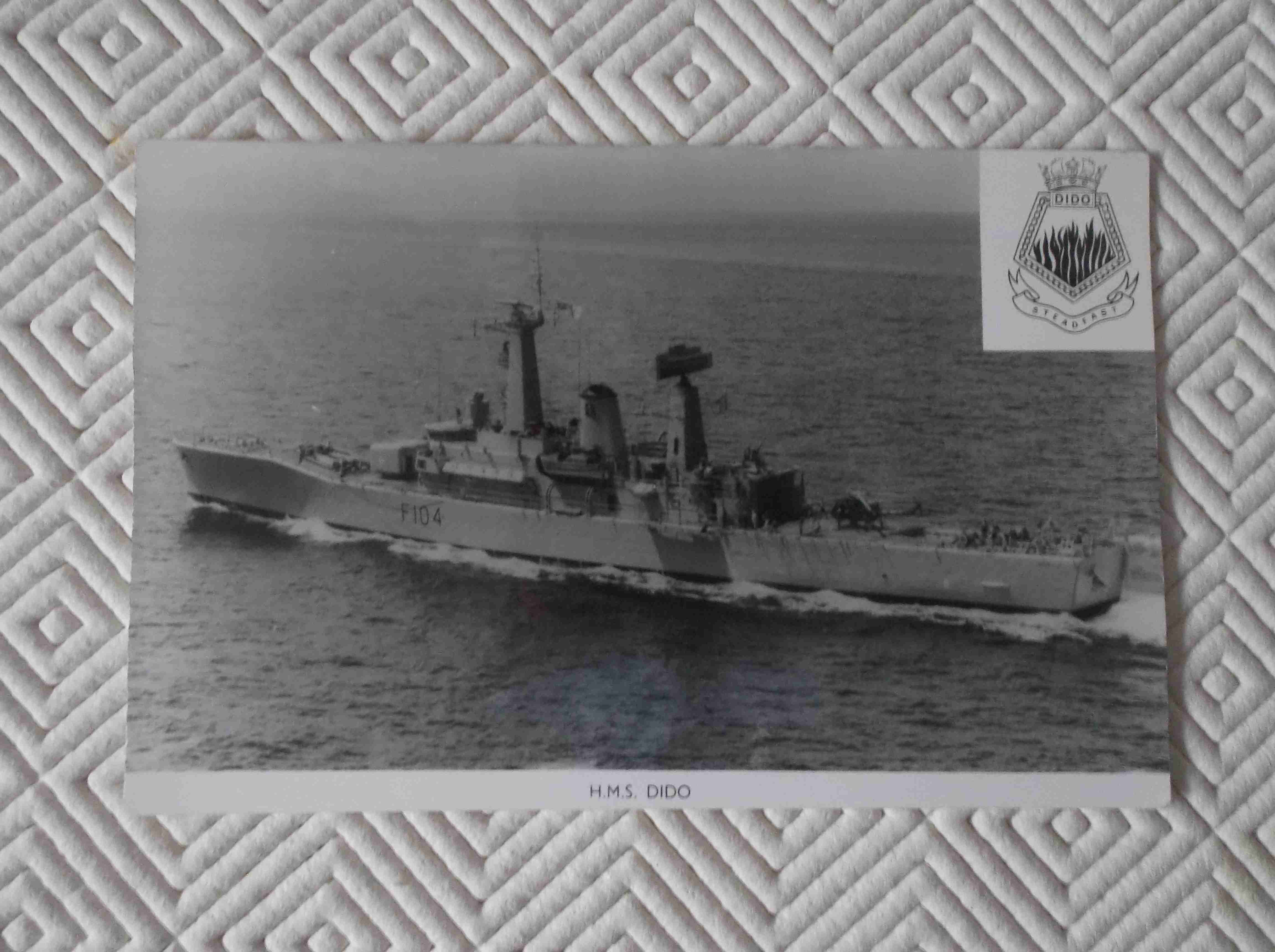 POSTCARD SIZE PHOTOGRAPH OF THE ROYAL NAVAL VESSEL HMS DIDO