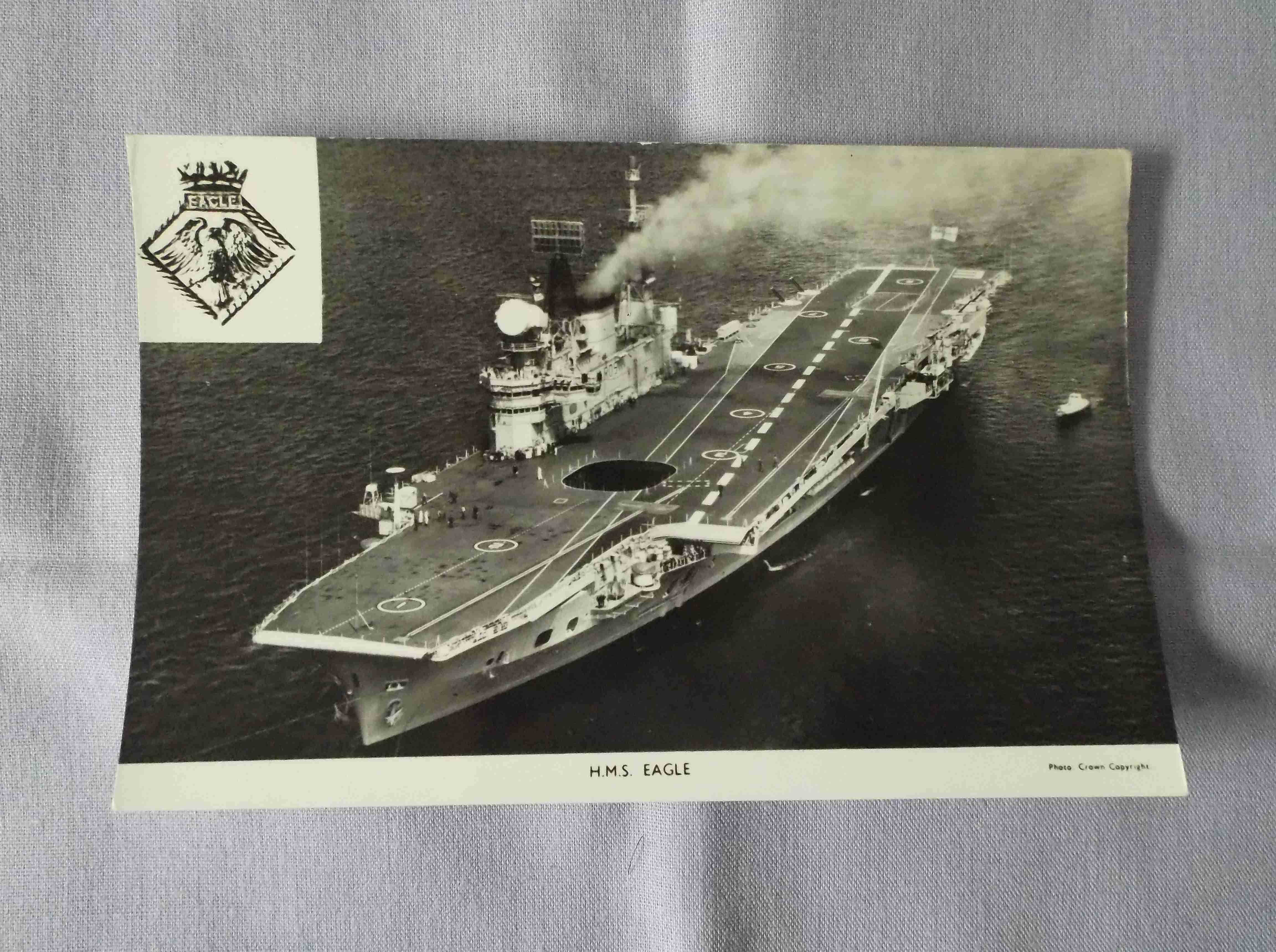 POSTCARD SIZE PHOTOGRAPH OF THE ROYAL NAVAL VESSEL HMS EAGLE