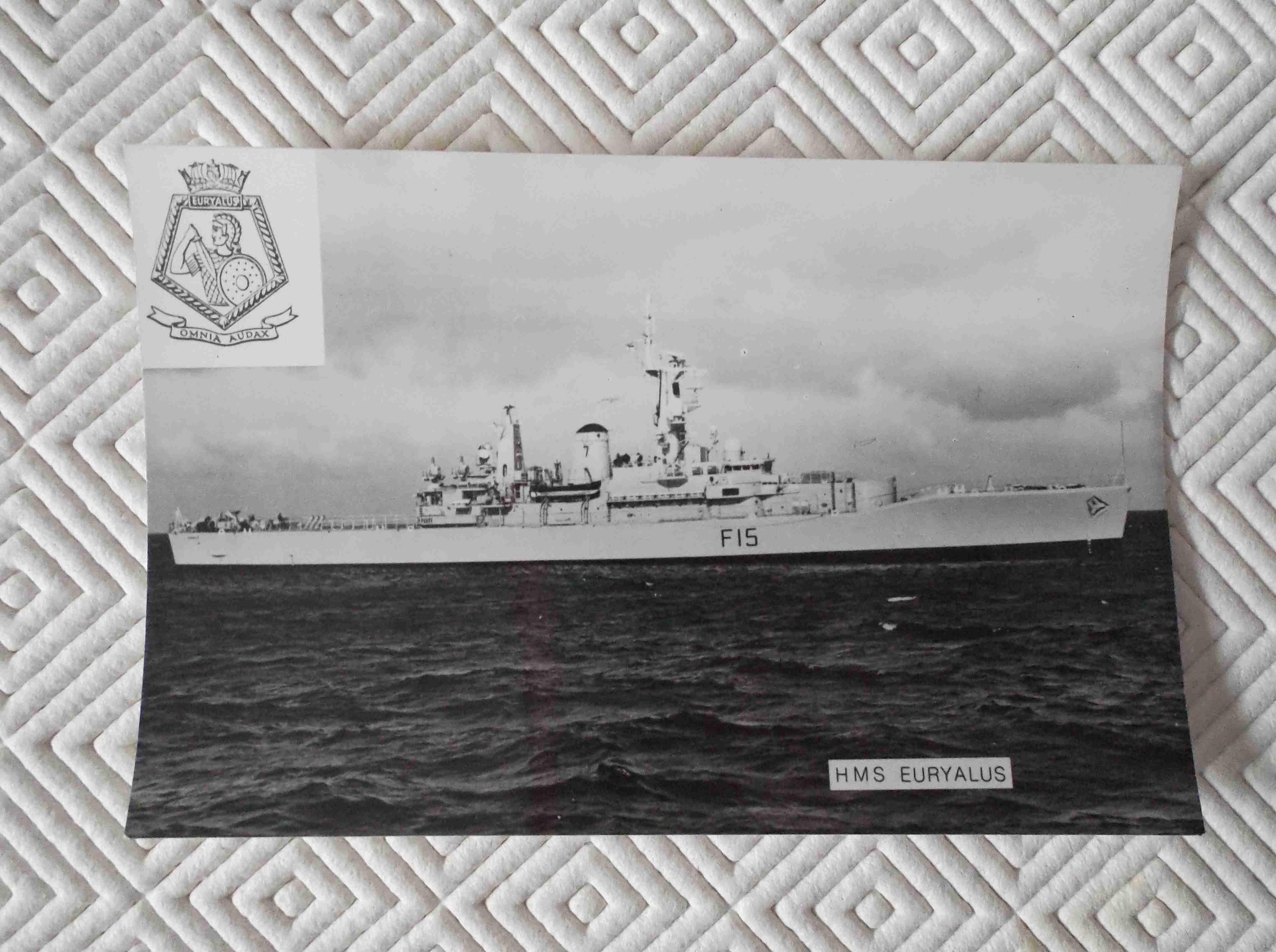 POSTCARD SIZE PHOTOGRAPH OF THE ROYAL NAVAL VESSEL HMS EURYALUS