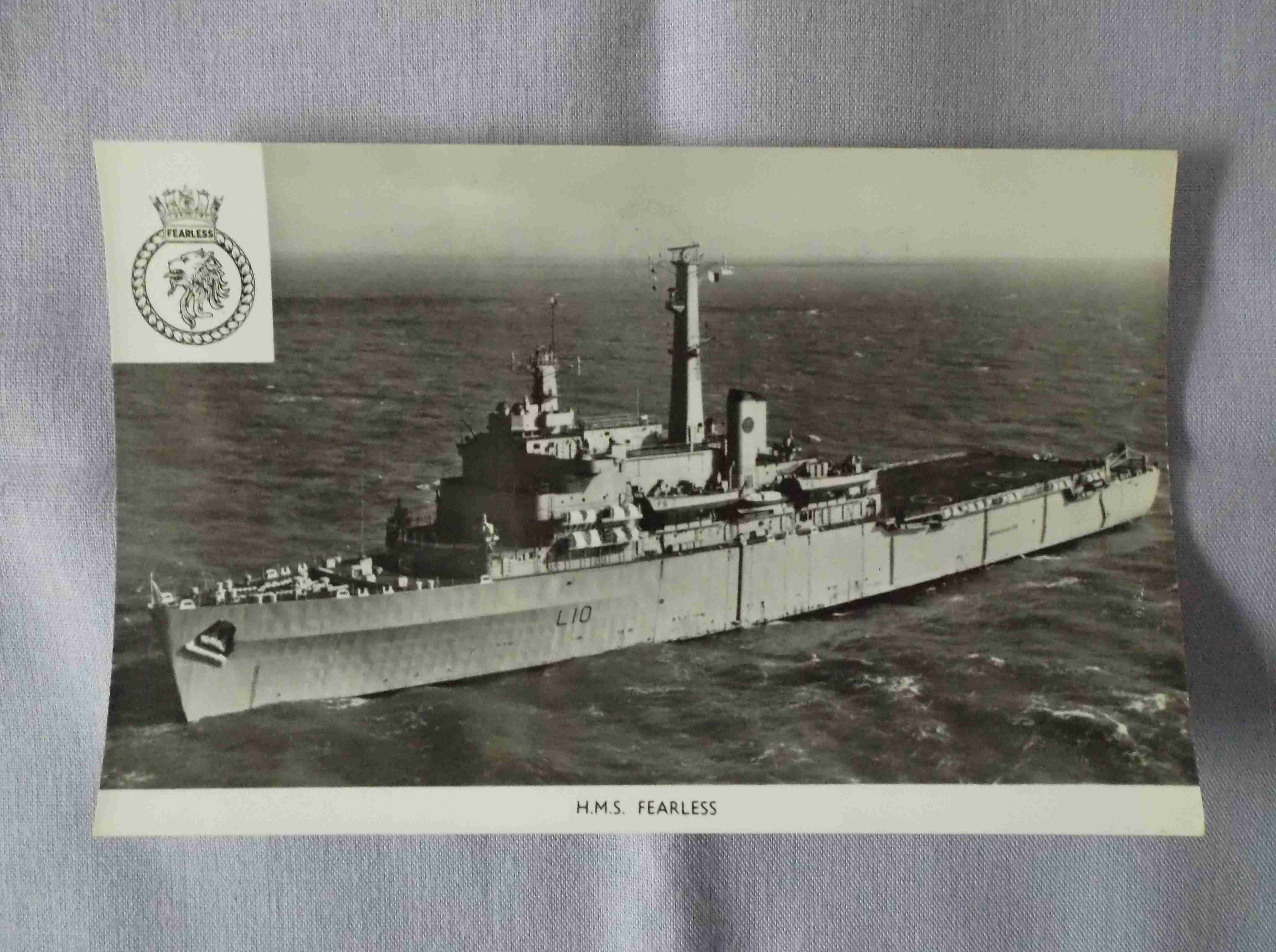 POSTCARD SIZE PHOTOGRAPH OF THE ROYAL NAVAL VESSEL HMS FEARLESS