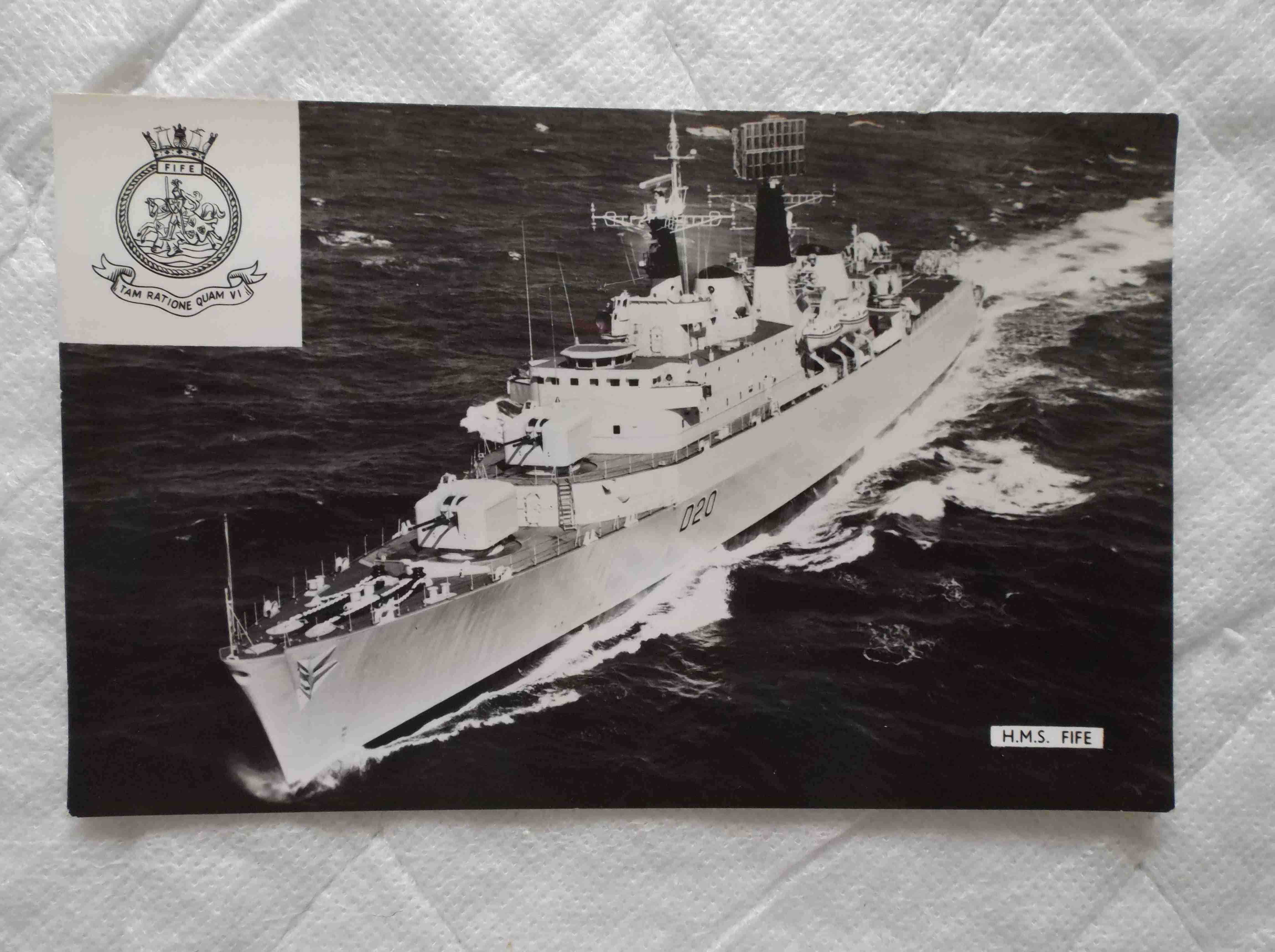 POSTCARD SIZE PHOTOGRAPH  OF THE ROYAL NAVAL VESSEL HMS FIFE
