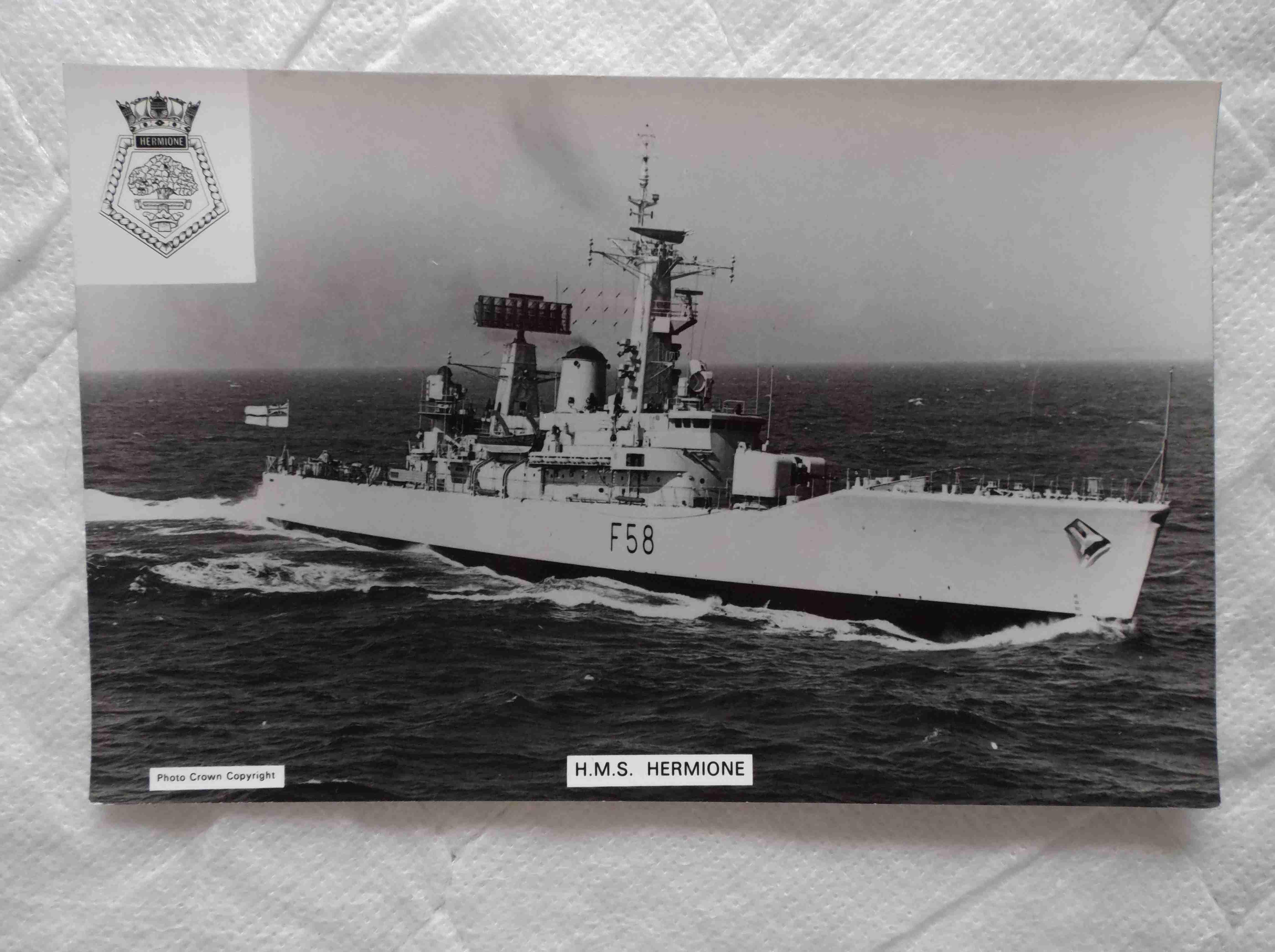 POSTCARD SIZE PHOTOGRAPH OF THE ROYAL NAVAL VESSEL HMS HERMIONE