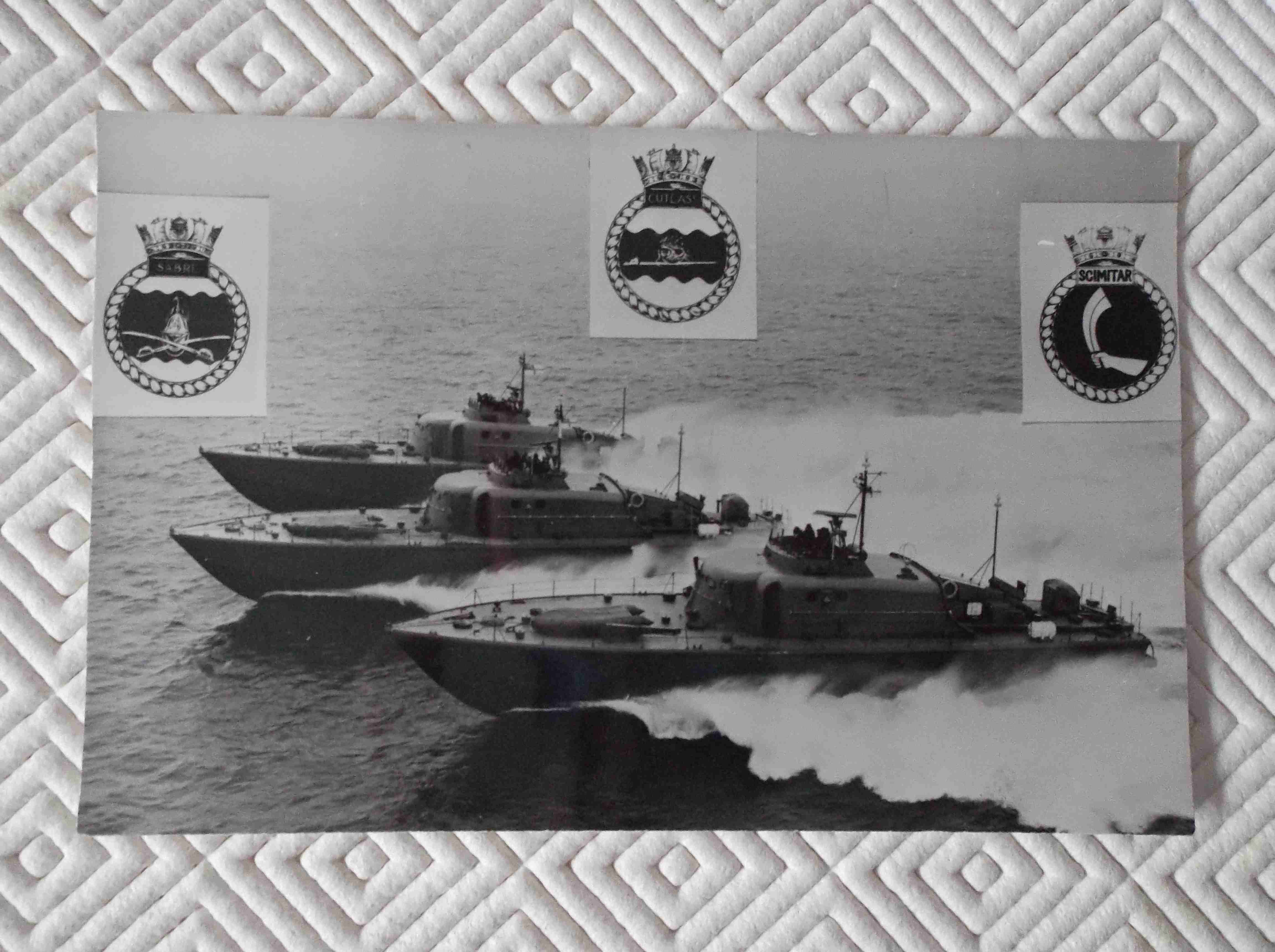 POSTCARD SIZE PHOTOGRAPH SHOWING 3 ROYAL NAVAL LAUNCHES
