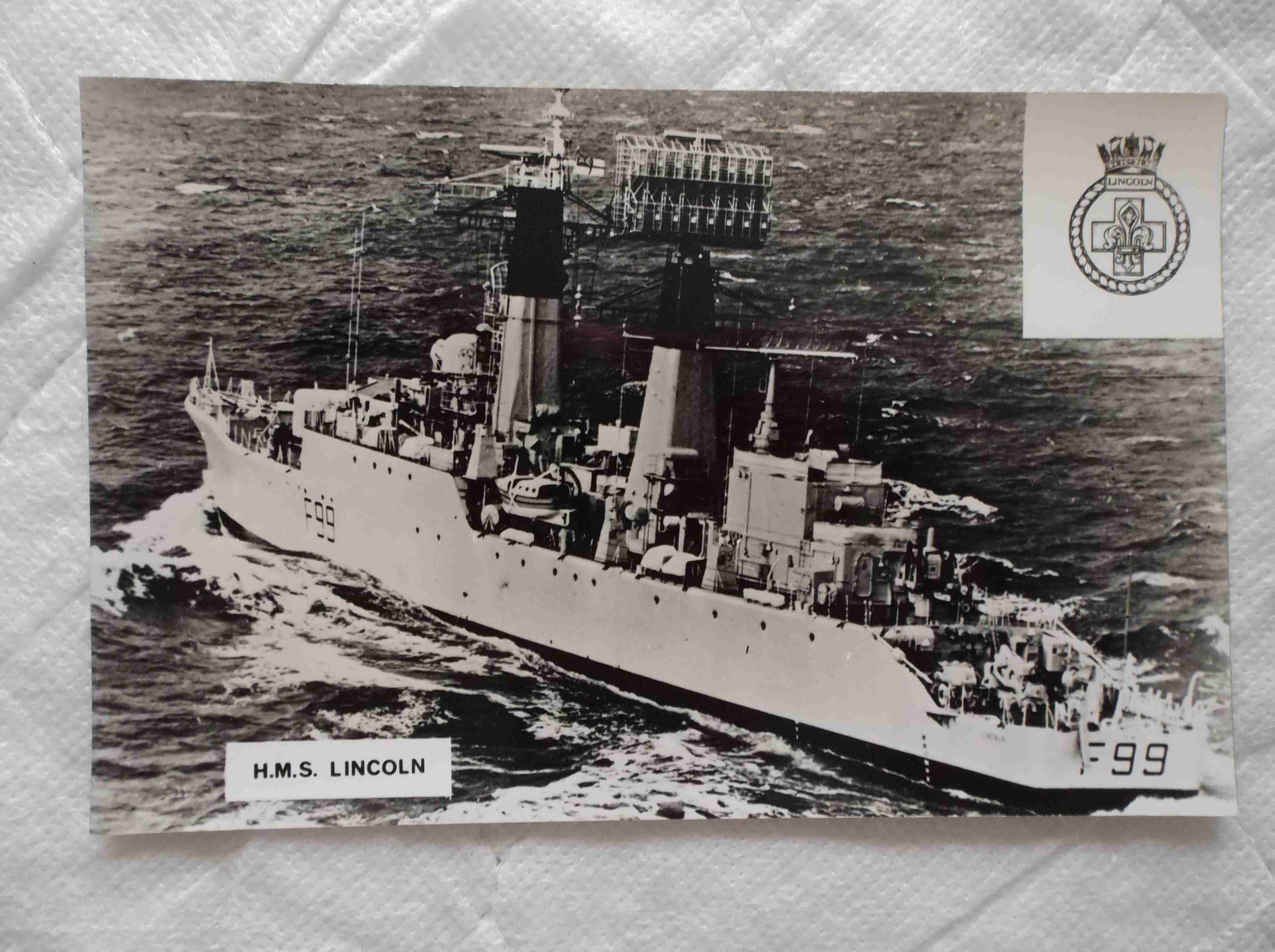 POSTCARD OF THE ROYAL NAVAL VESSEL HMS LINCOLN