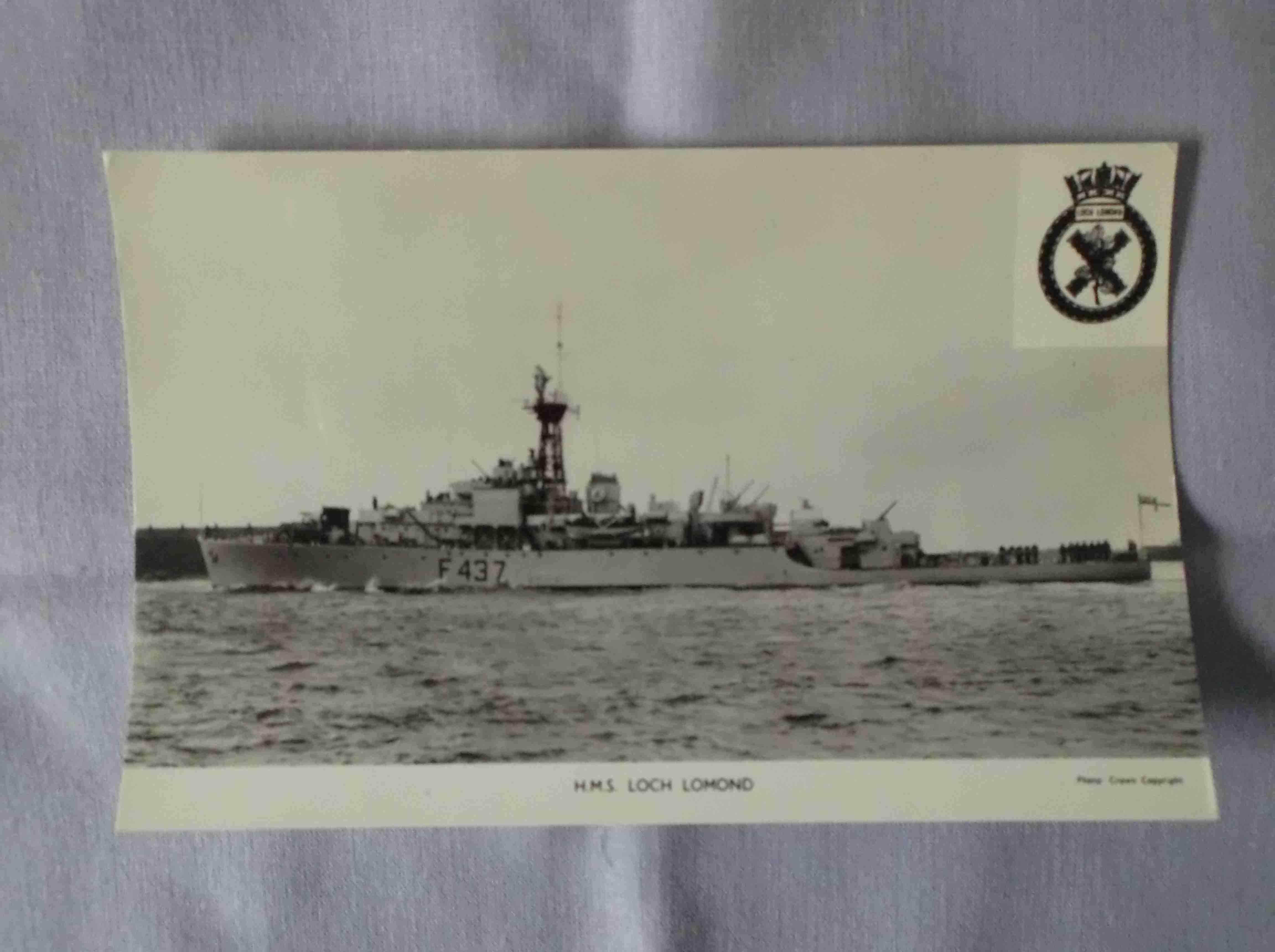 POSTCARD SIZE PHOTOGRAPH OF THE ROYAL NAVAL VESSEL HMS LOCHLOMOND