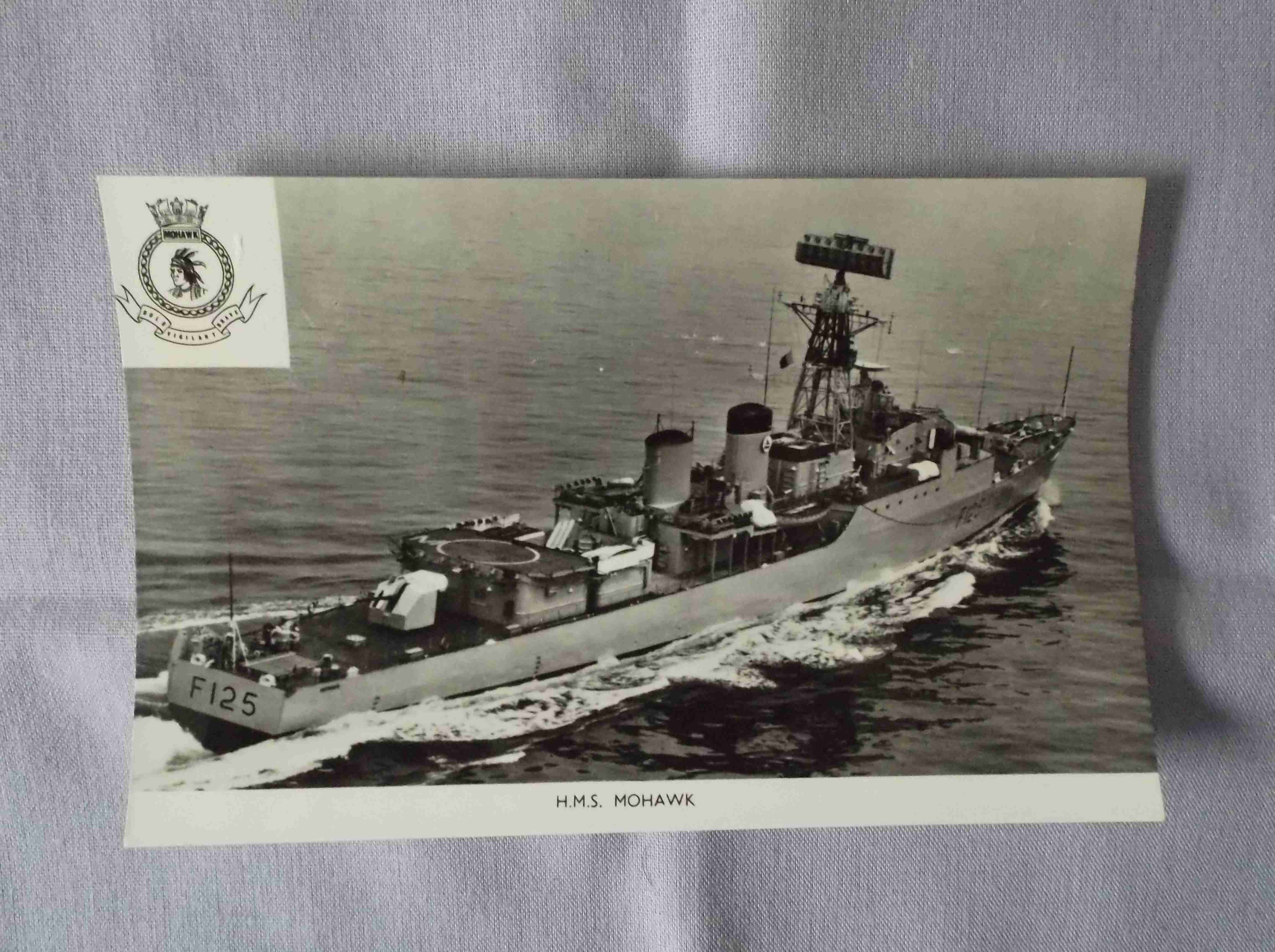 POSTCARD SIZE PHOTOGRAPH OF THE ROYAL NAVAL VESSEL HMS MOHAWK
