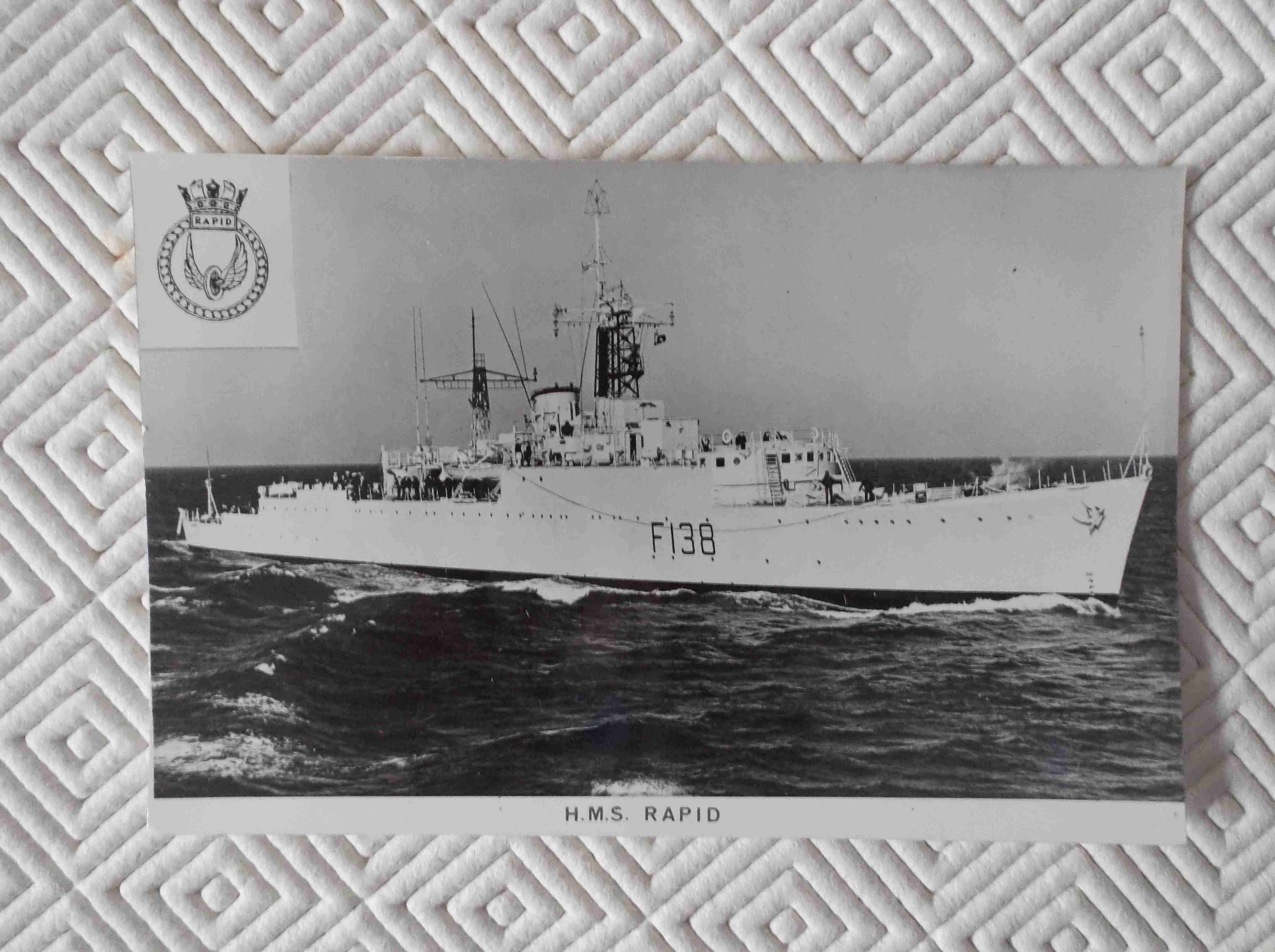 POSTCARD SIZE PHOTOGRAPH OF THE ROYAL NAVAL VESSEL HMS RAPID